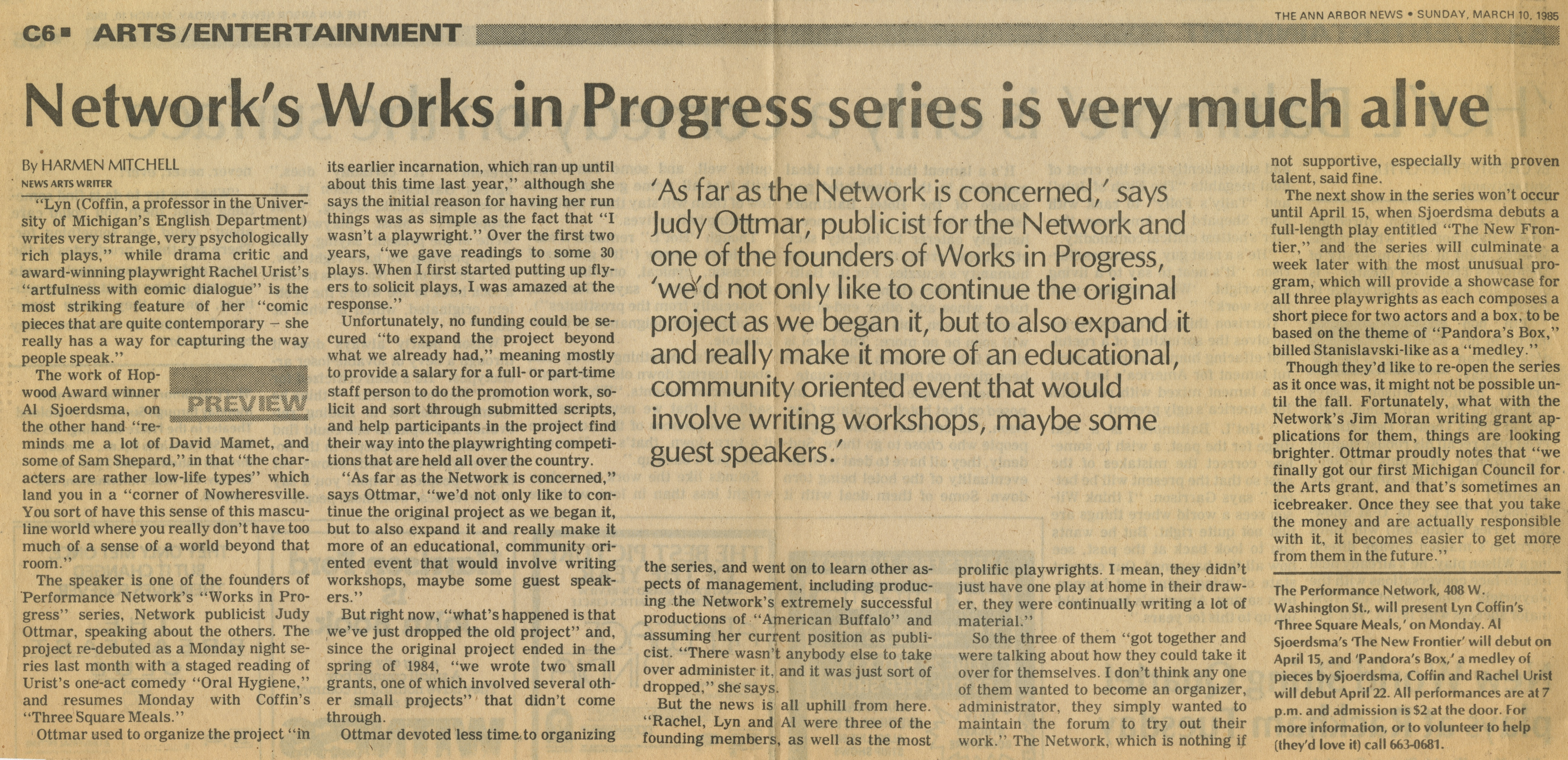 Network's Works in Progress series is very much alive image