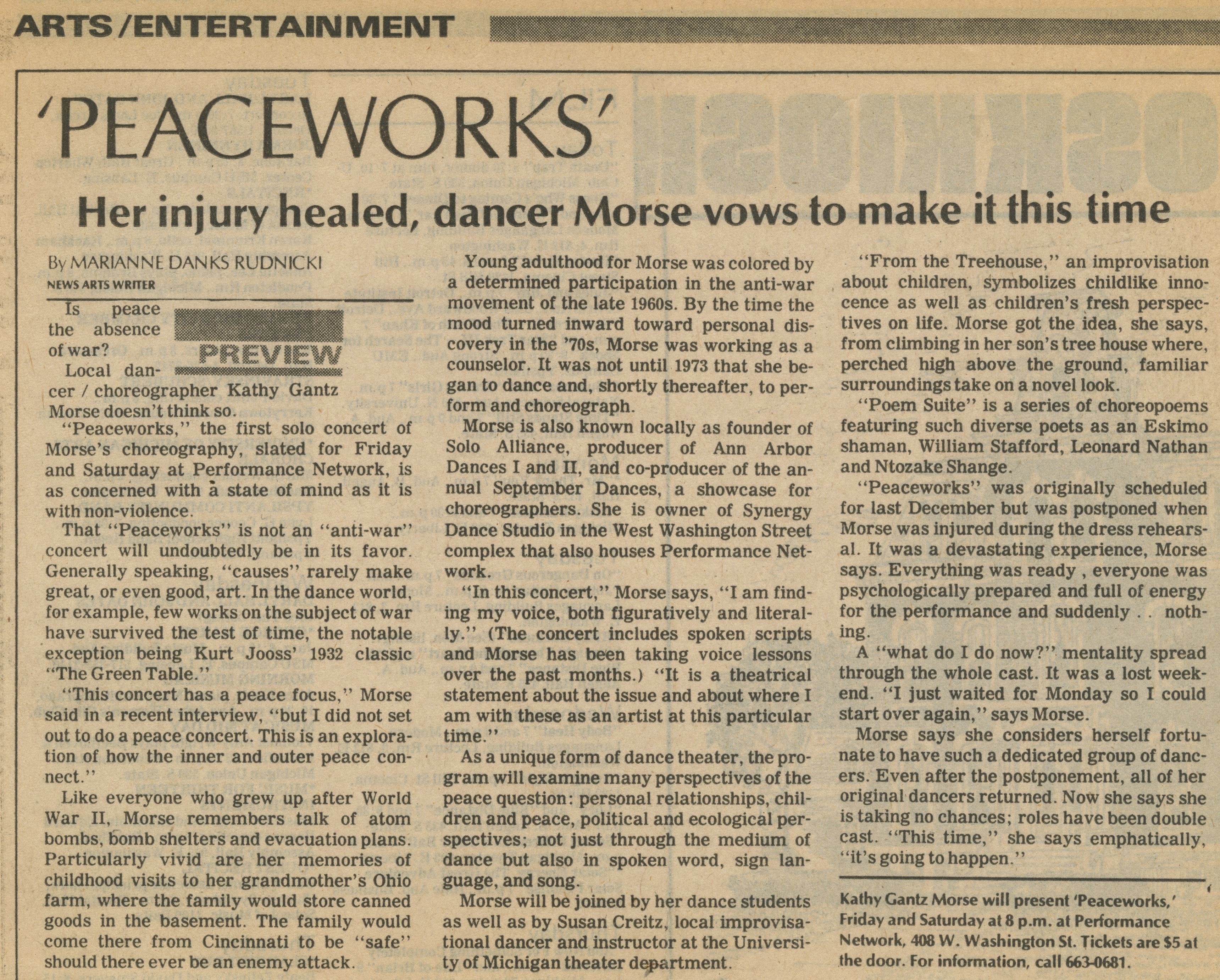'Peaceworks' Her injury healed, dancer Morse vows to make it this time image