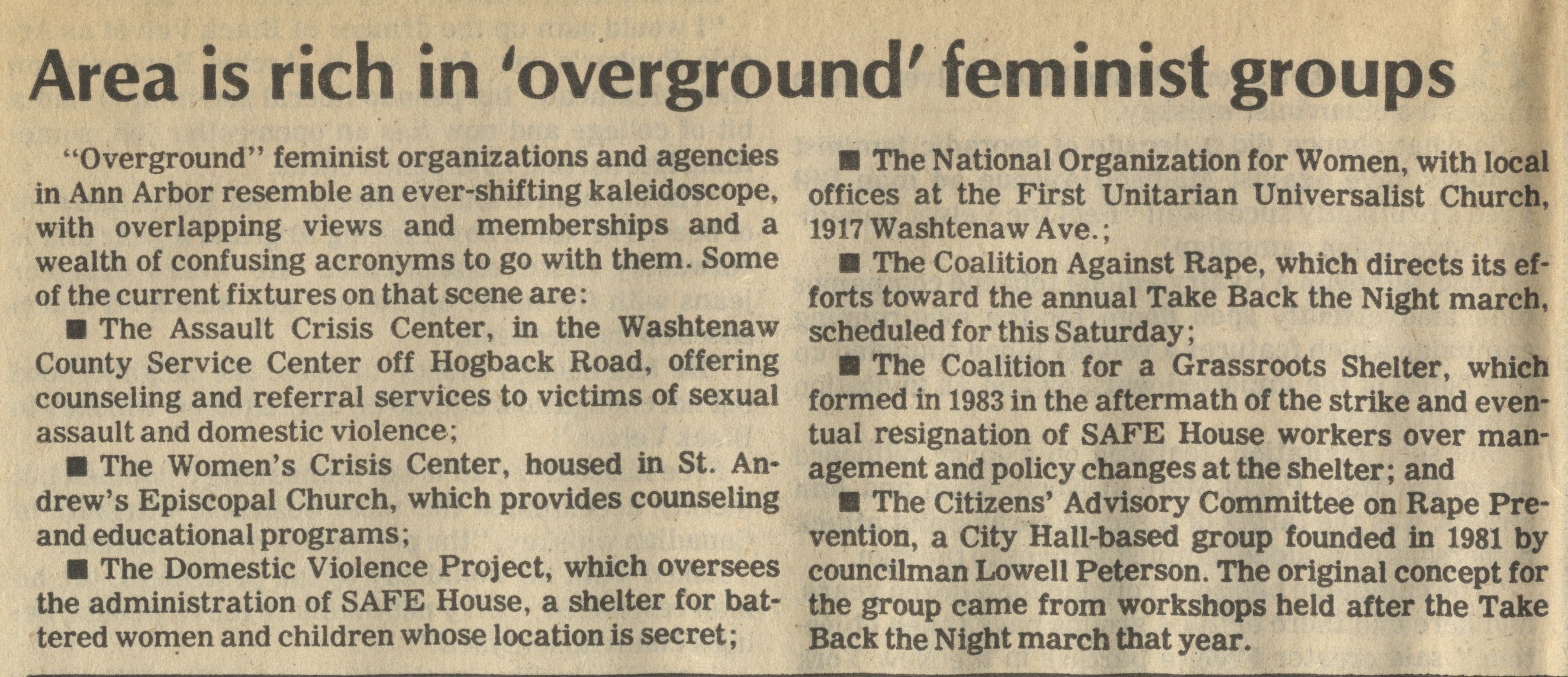 Area Is Rich In ' Overground ' Feminist Groups image