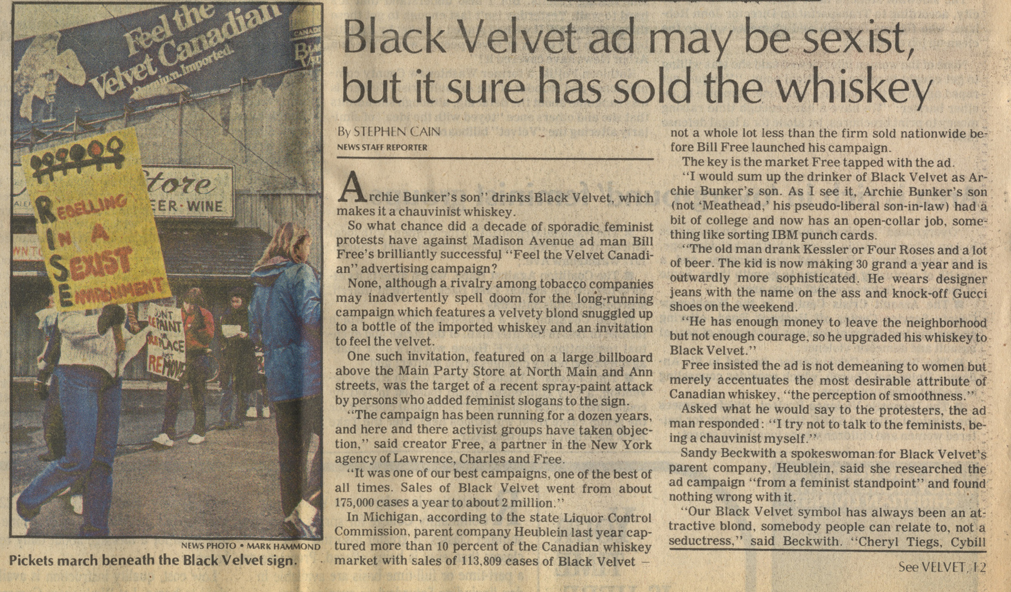 Black Velvet Ad May Be Sexist, But It Sure Has Sold The Whiskey image