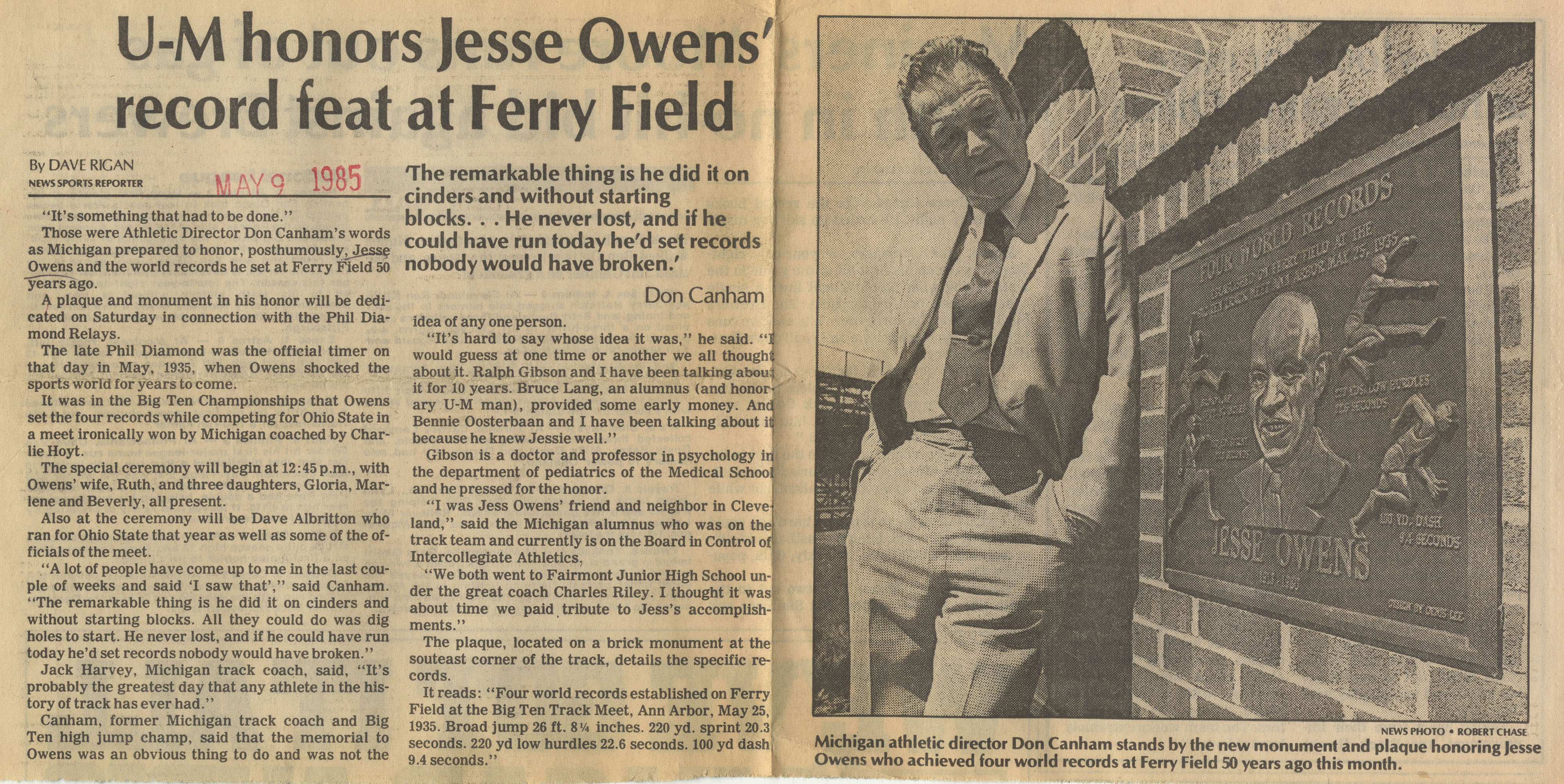 U-M honors Jessie Owens' record feat at Ferry Field image