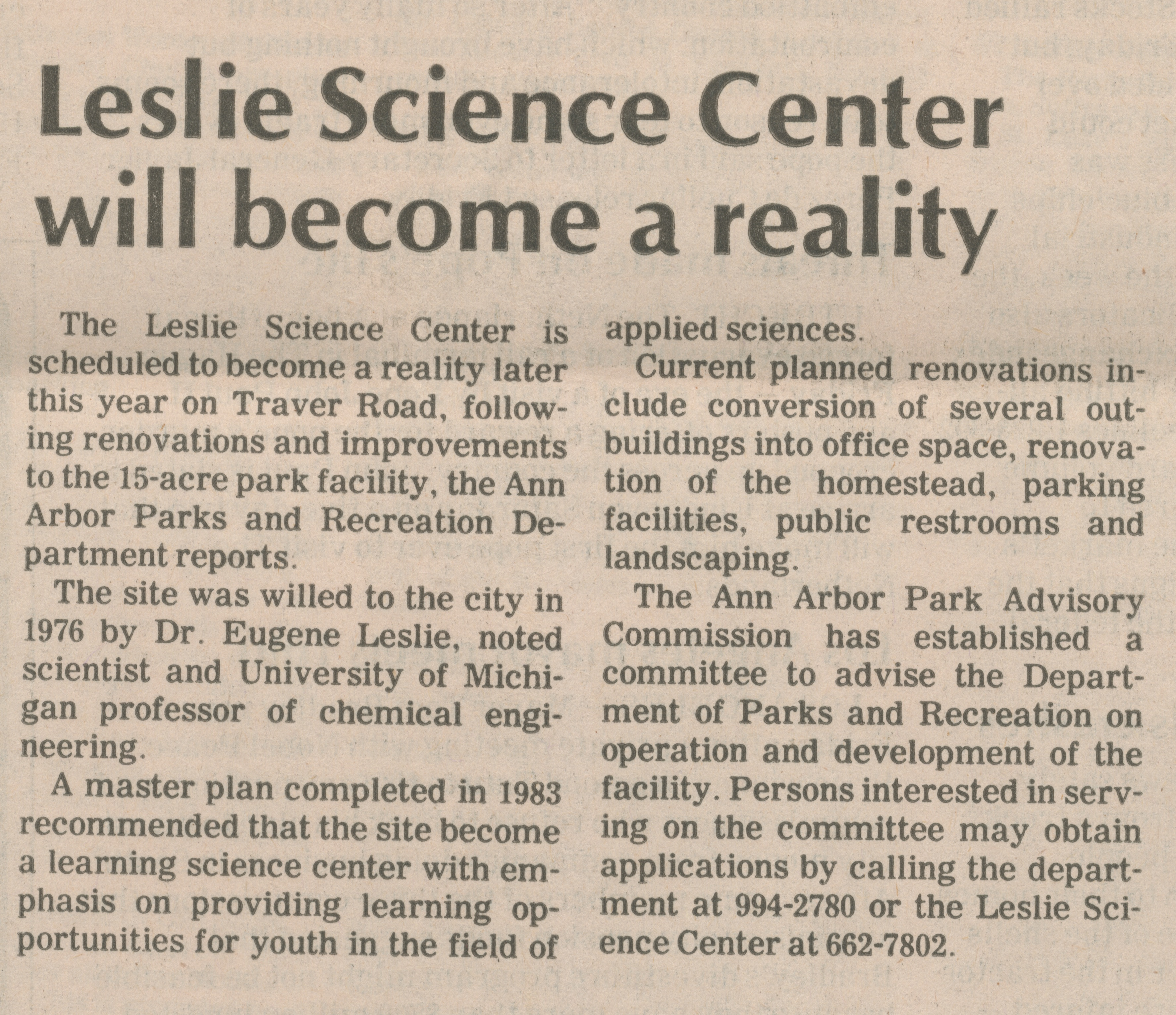 Leslie Science Center will become a reality image