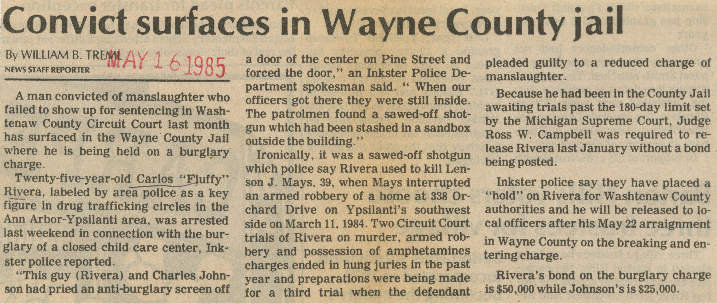 Convict surfaces in Wayne County jail | Ann Arbor District Library
