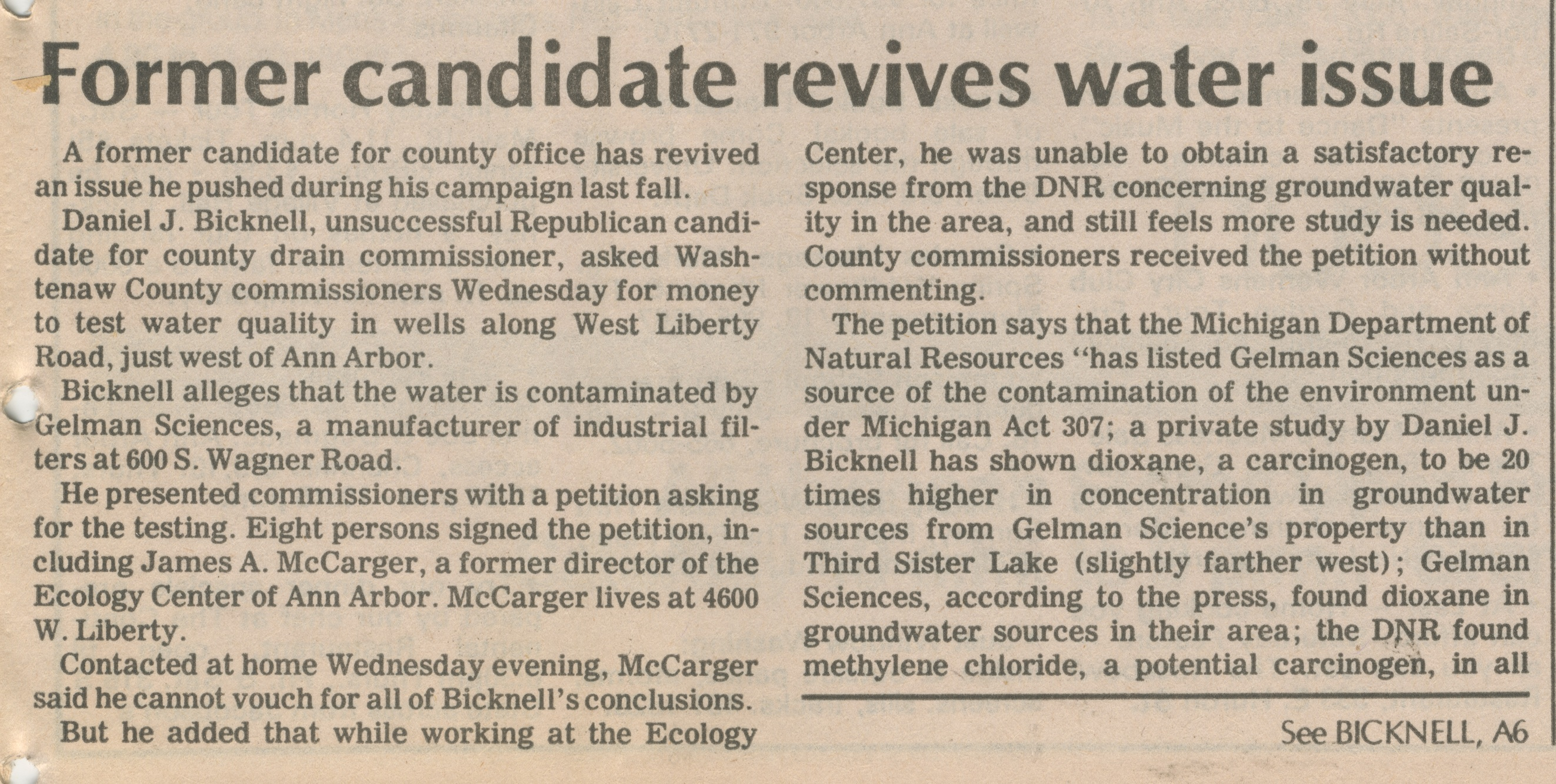 Former Candidate Revives Water Issue image