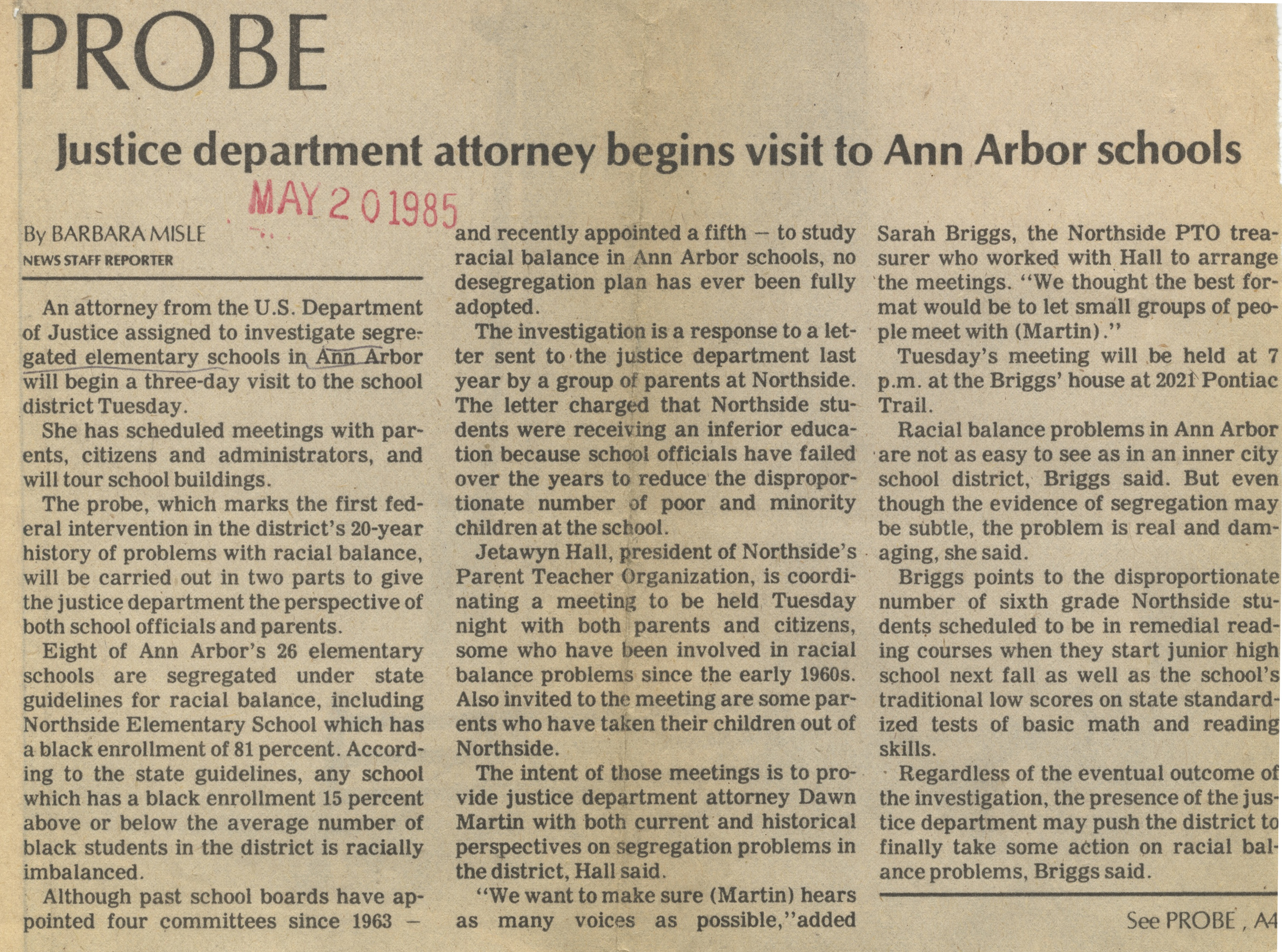 Probe: Justice Department Attorney Begins Visit To Ann Arbor Schools image