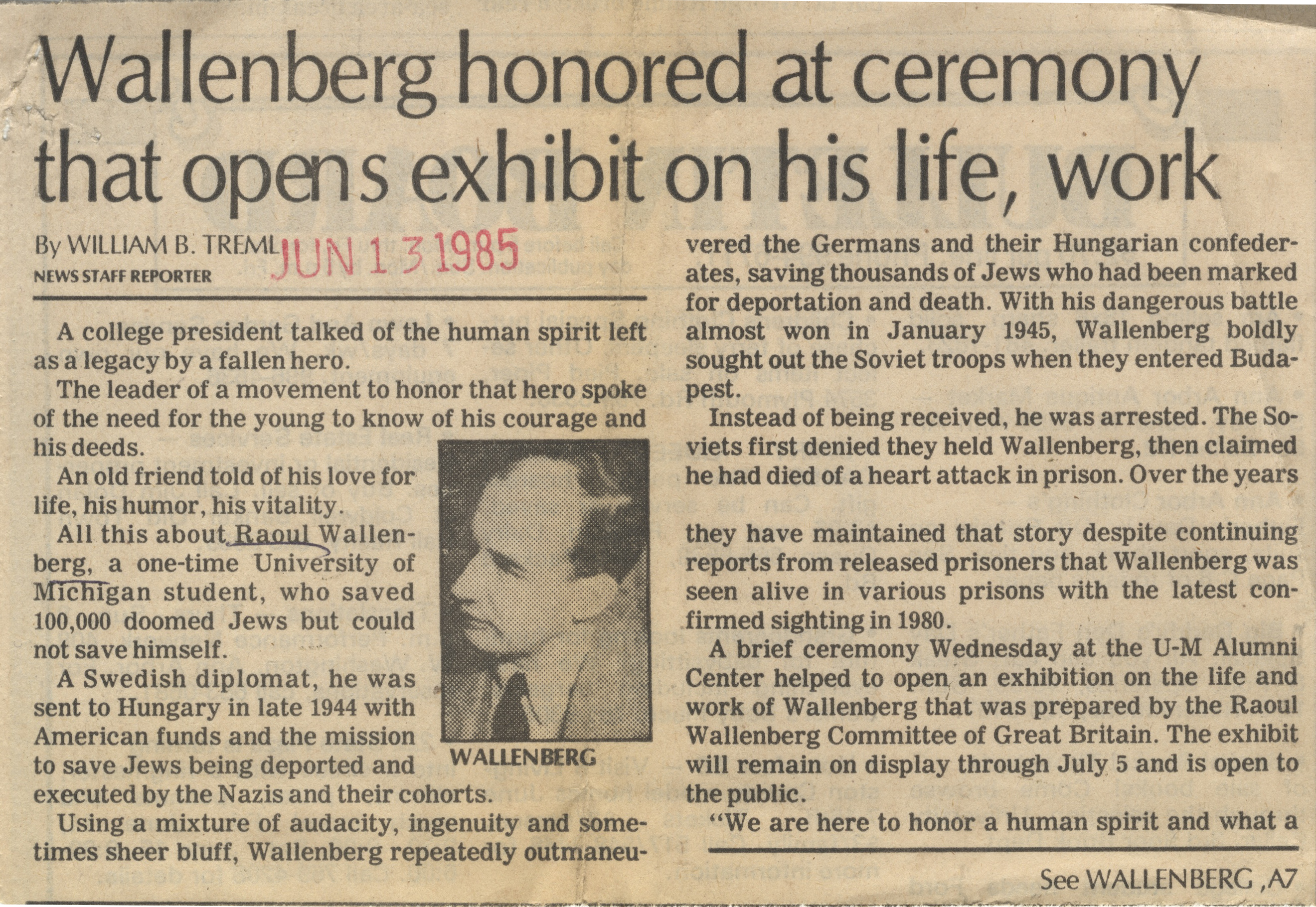 Wallenberg Honored At Ceremony That Opens Exhibit On His Life, Work image