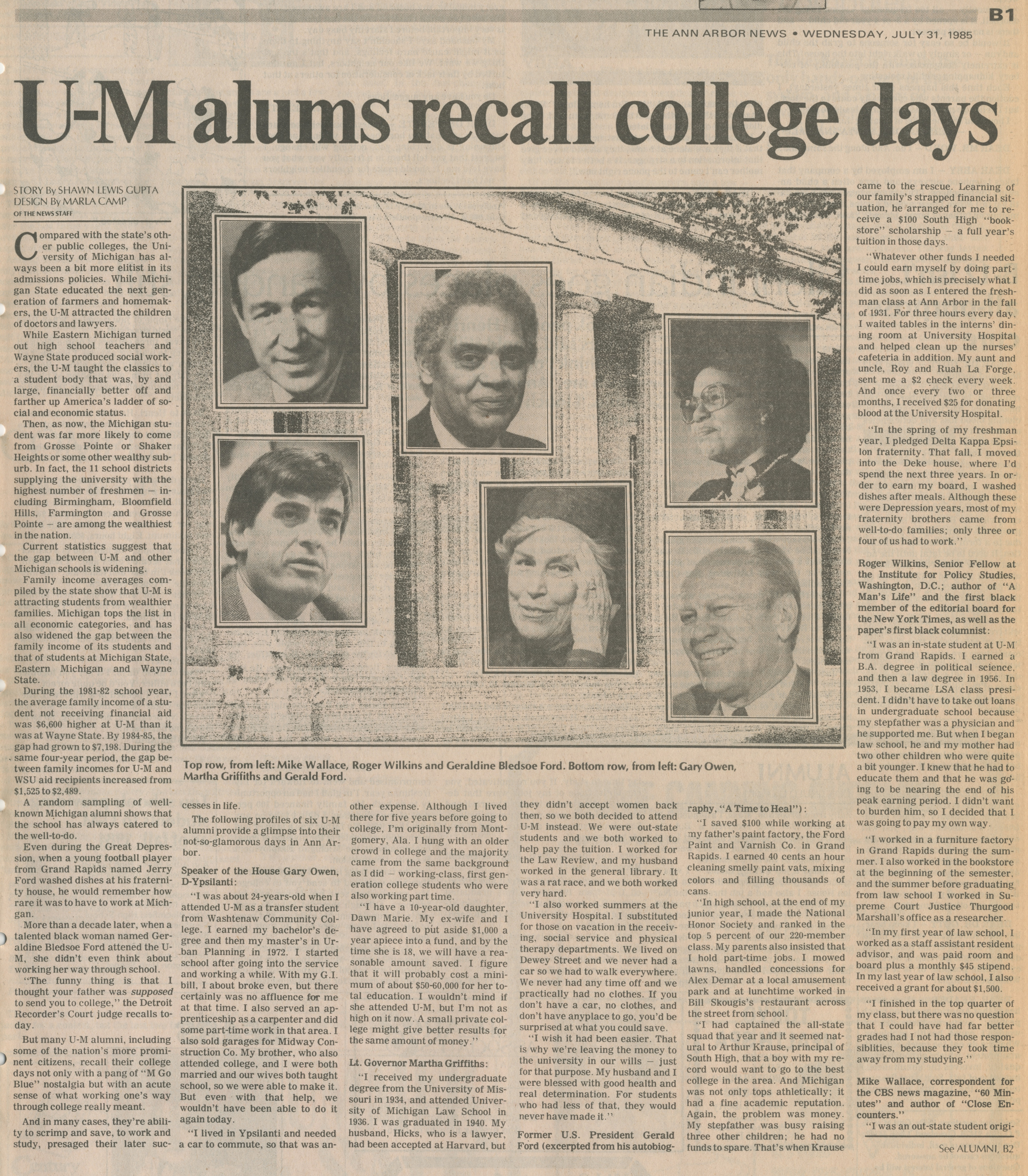 U-M alums recall college days image