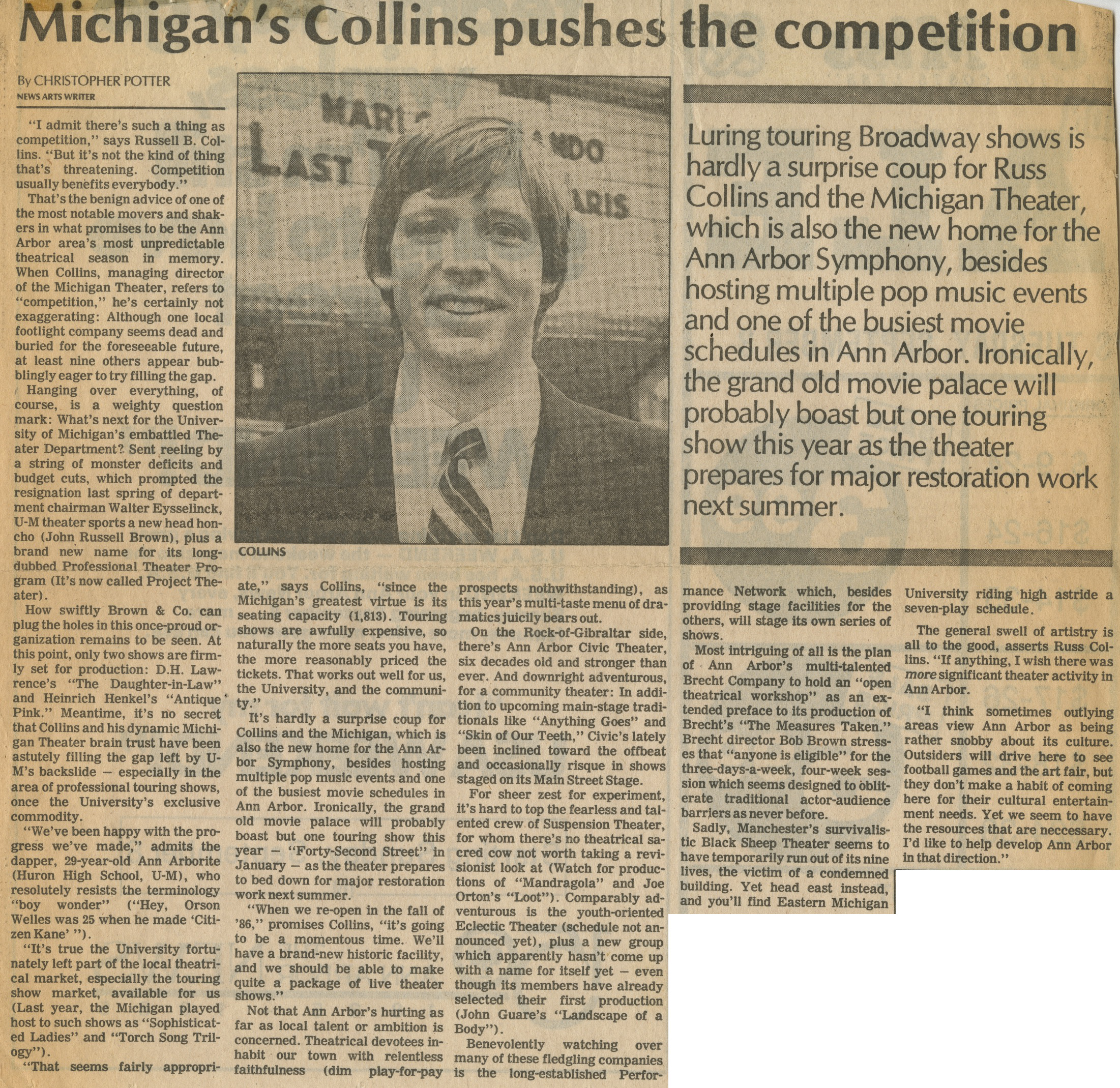 Michigan's Collins pushes the competition image