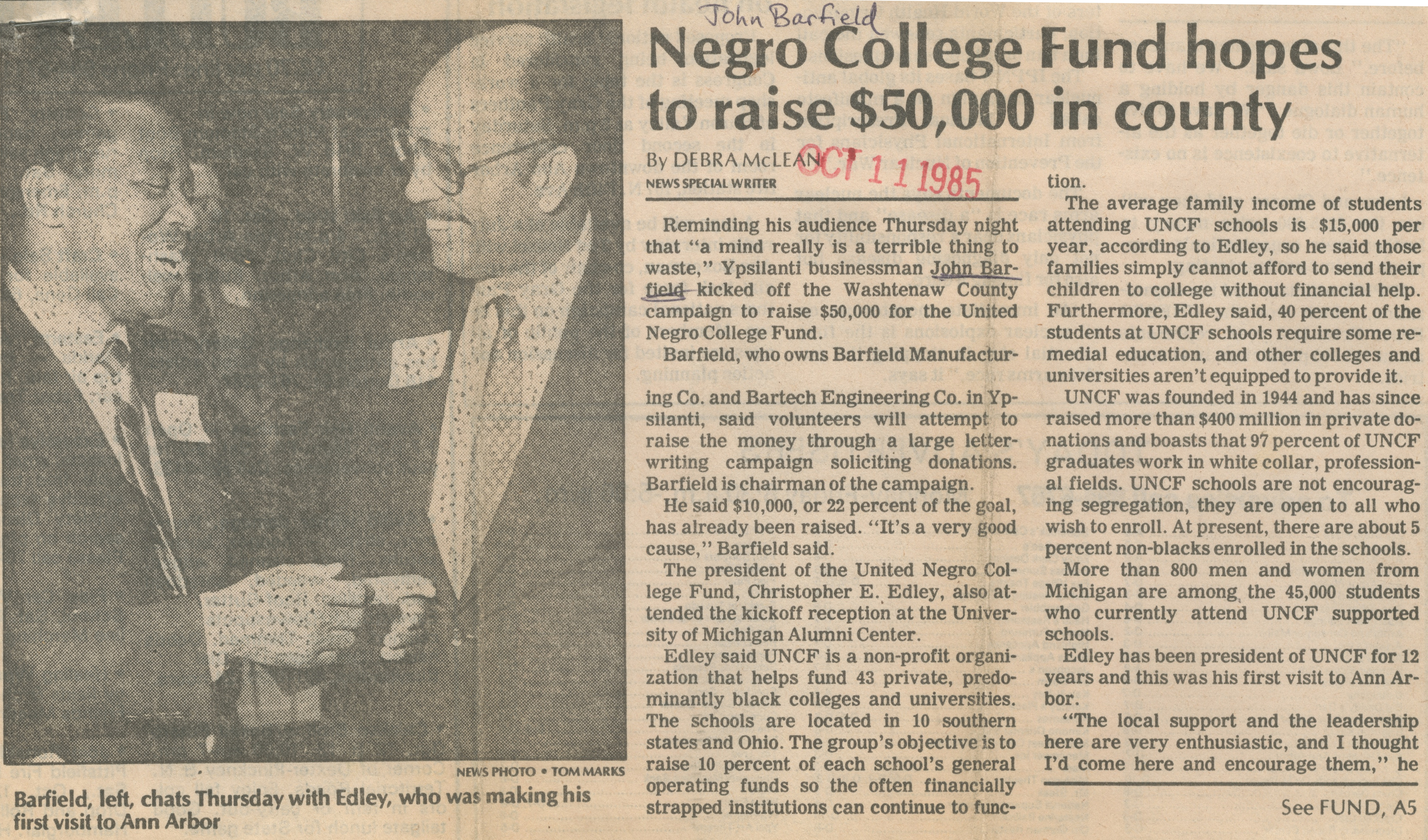 Negro College Fund Hopes To Raise $50,000 In County image