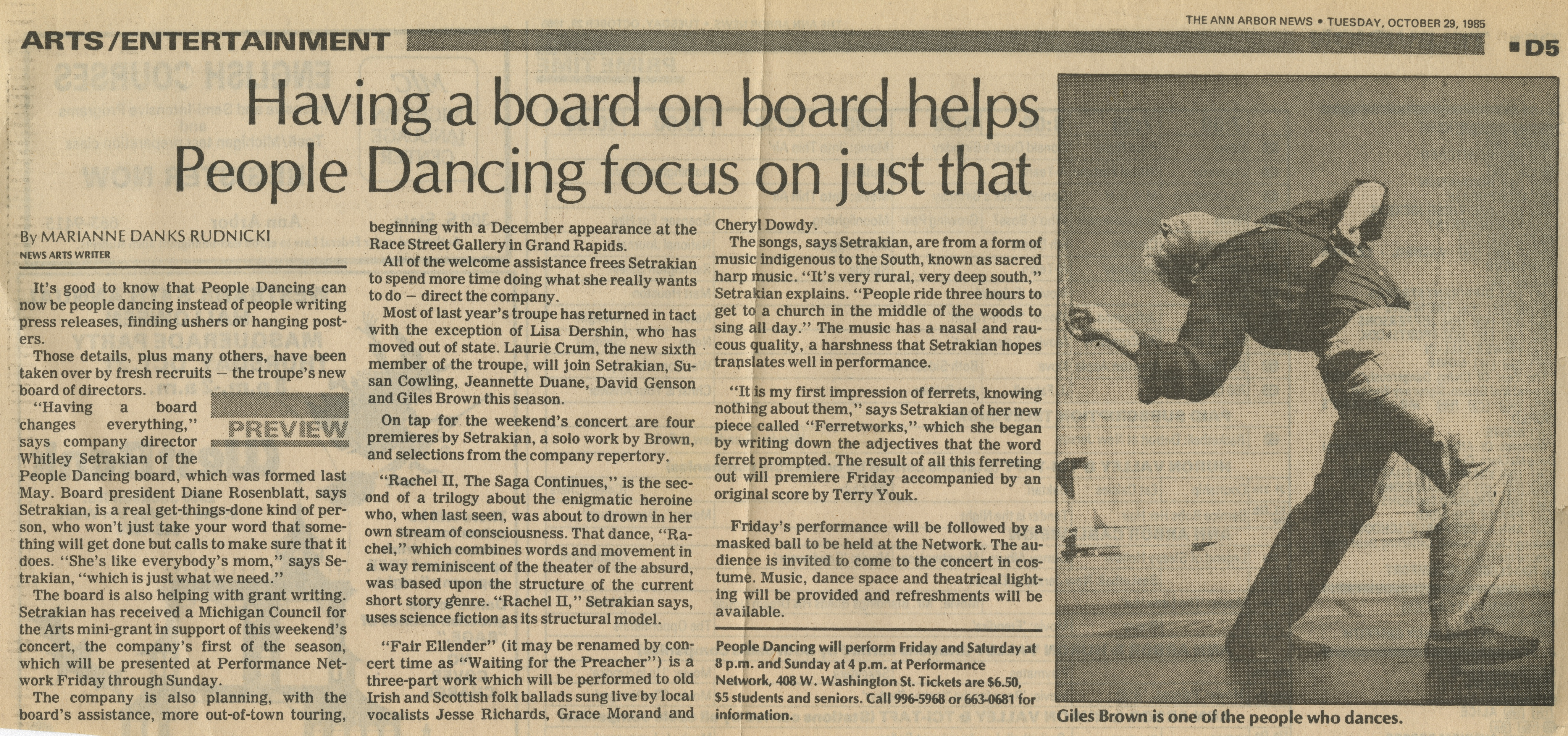 Having a board on board helps People Dancing focus on just that image