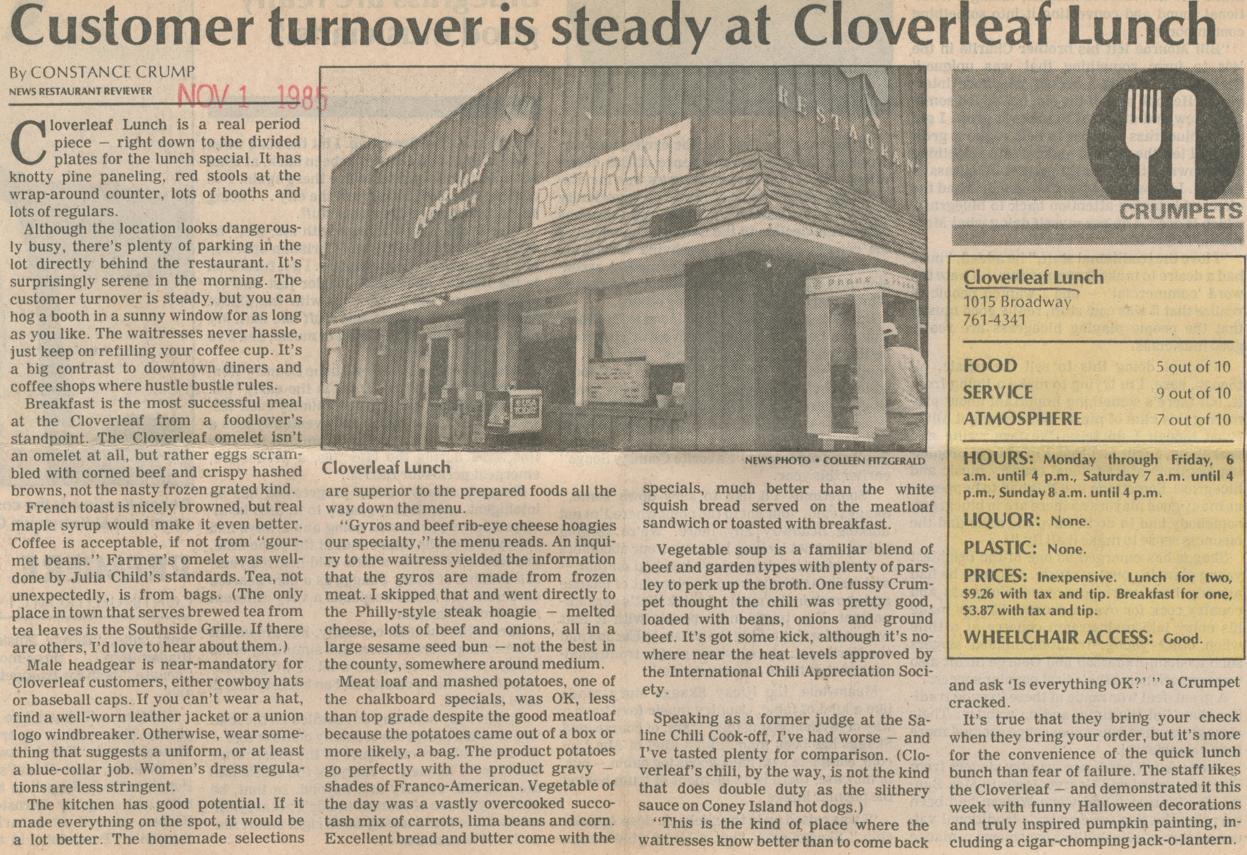 Customer Turnover Is Steady At Cloverleaf Lunch image