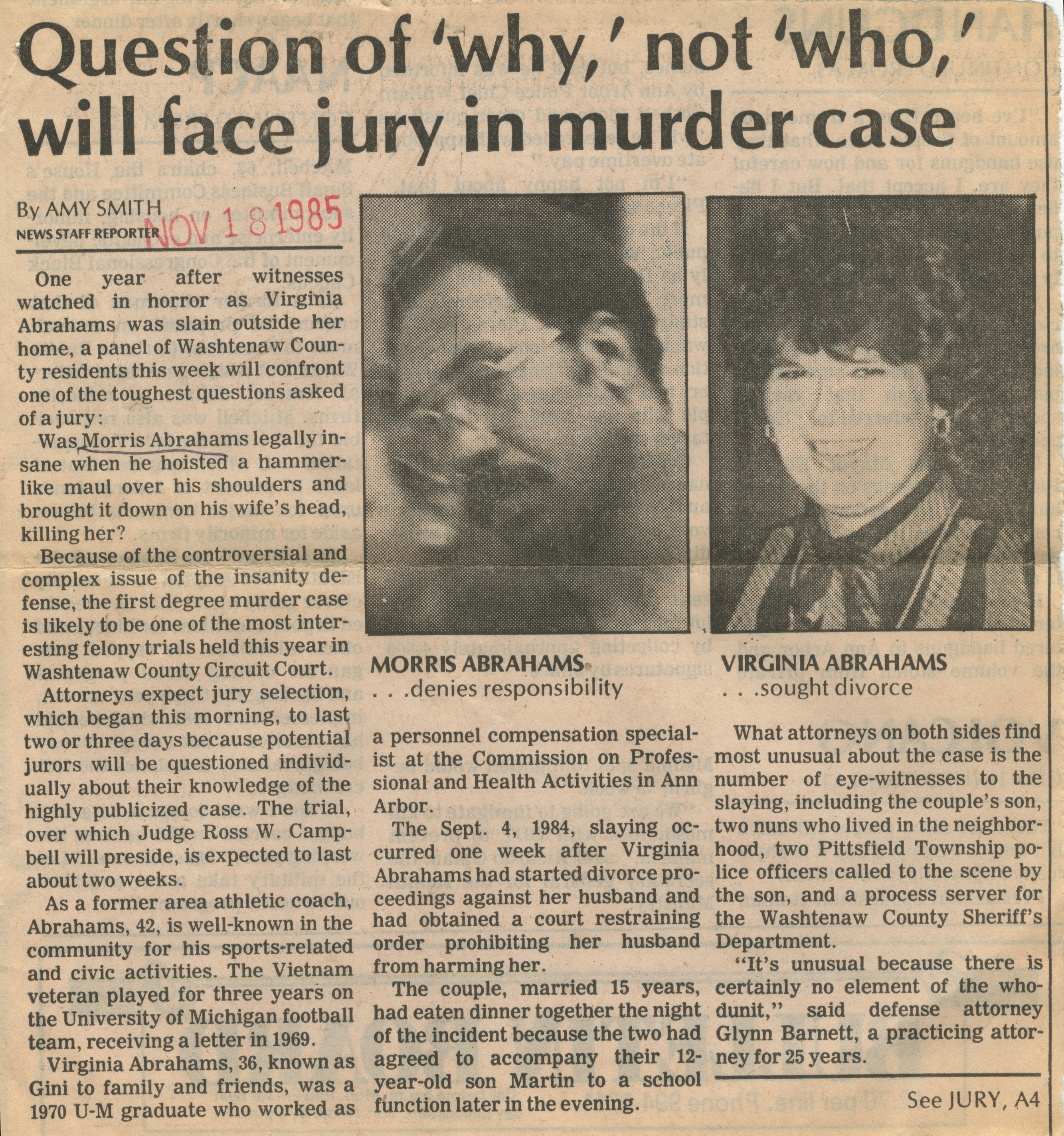 "Question Of ""Why"" Not ""Who"" Will Face Jury In Murder Case image"