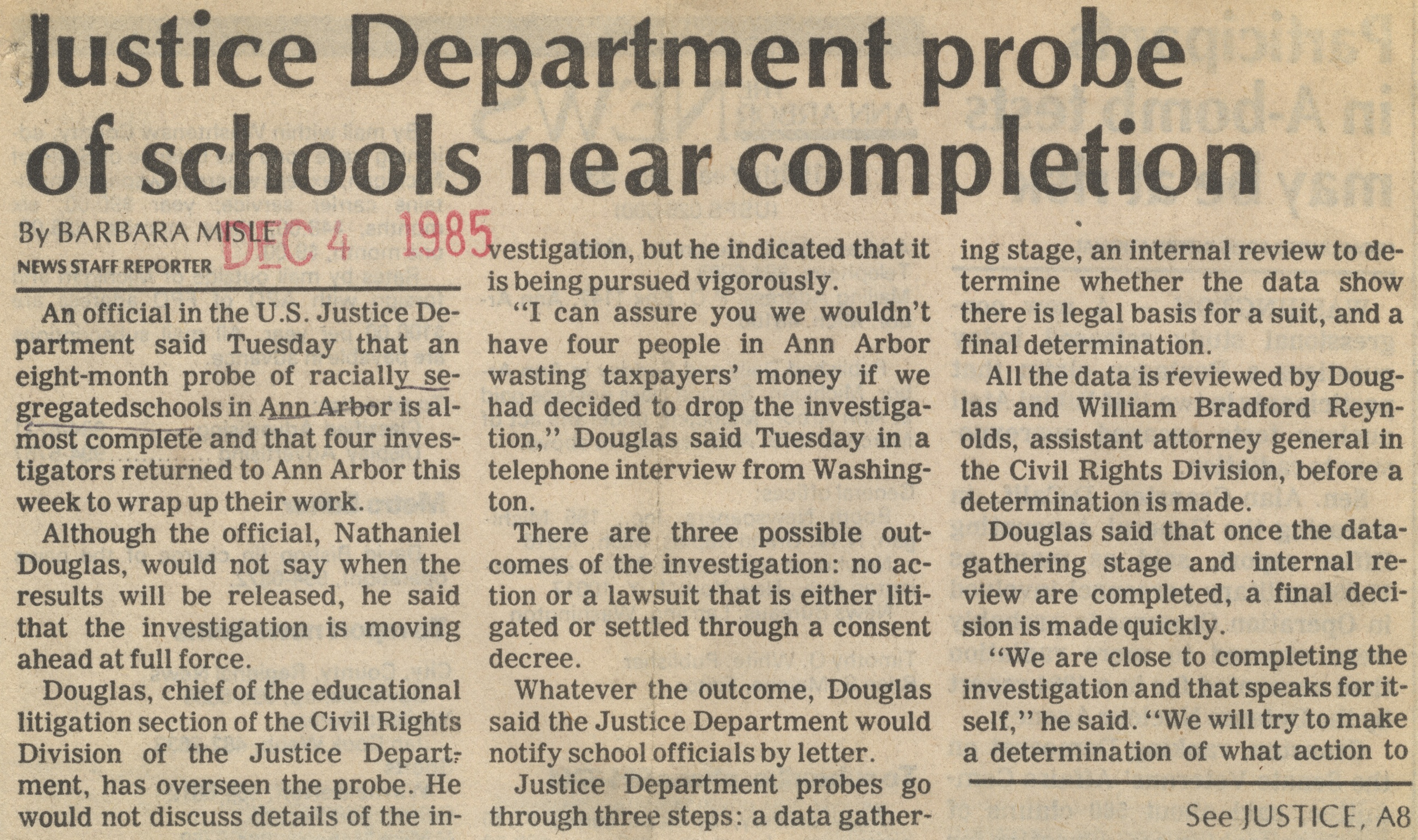 Justice Department Probe Of Schools Near Completion image
