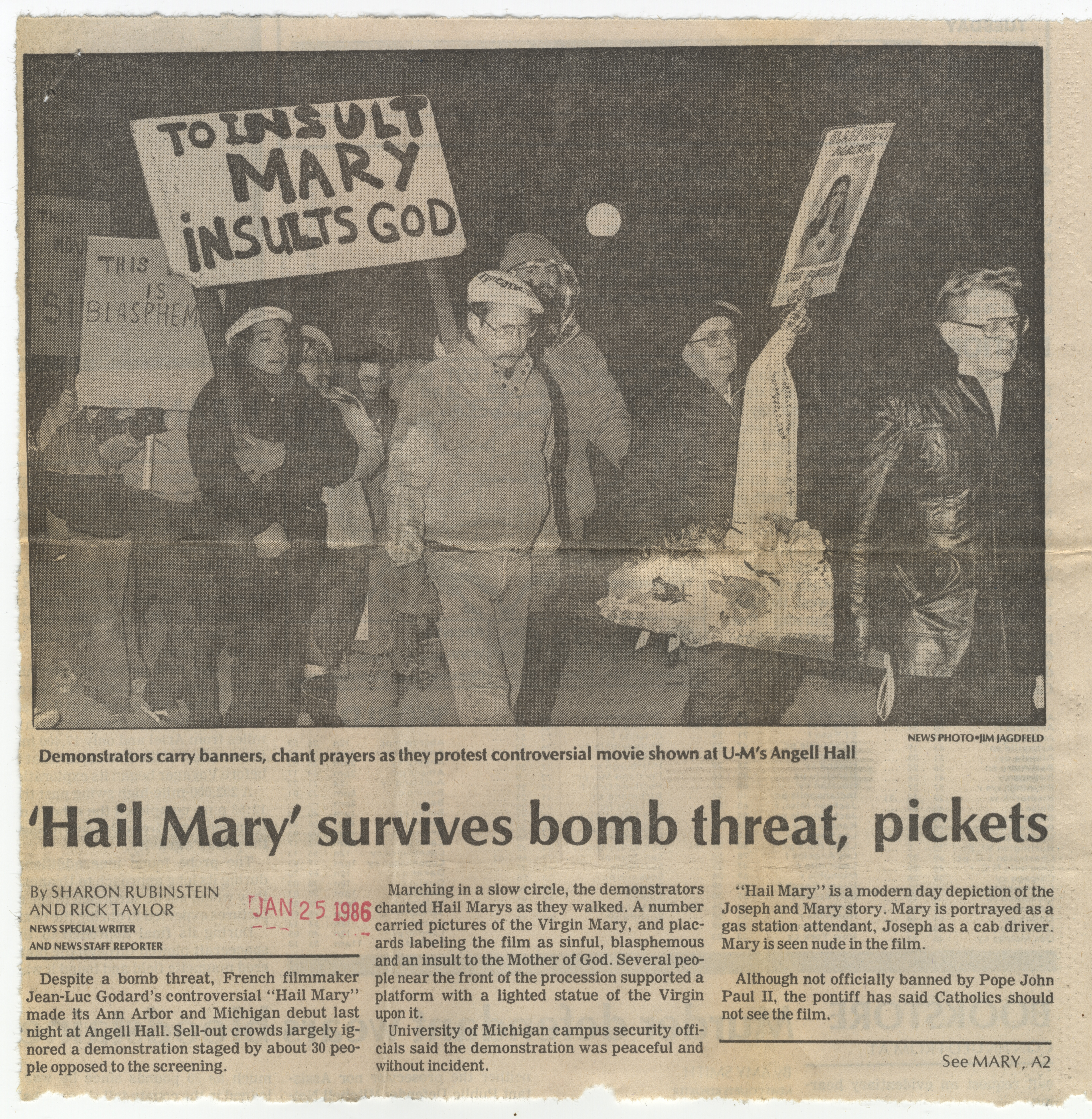 'Hail Mary' survives bomb threat, pickets image