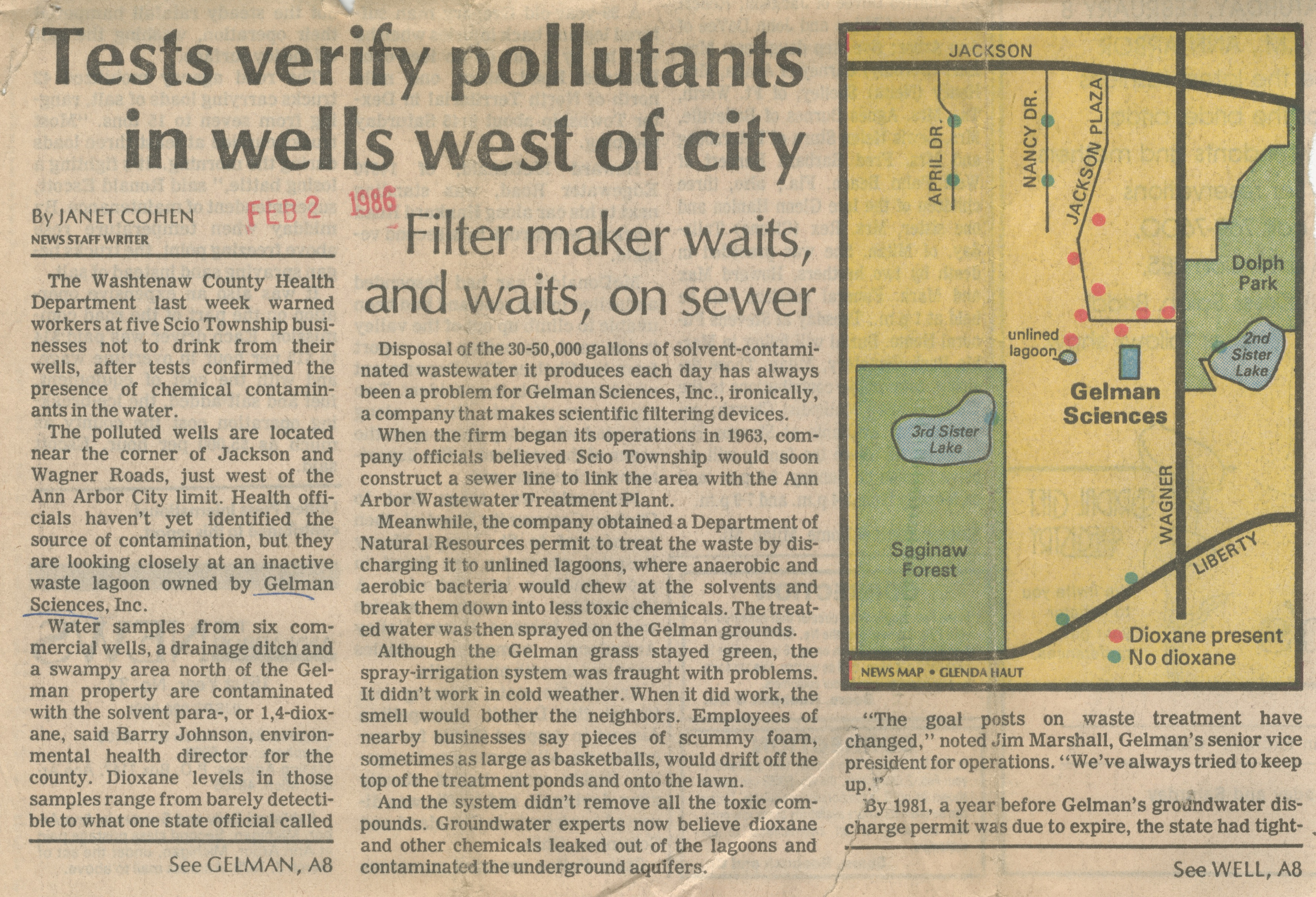 Tests Verify Pollutants In Wells West Of City image