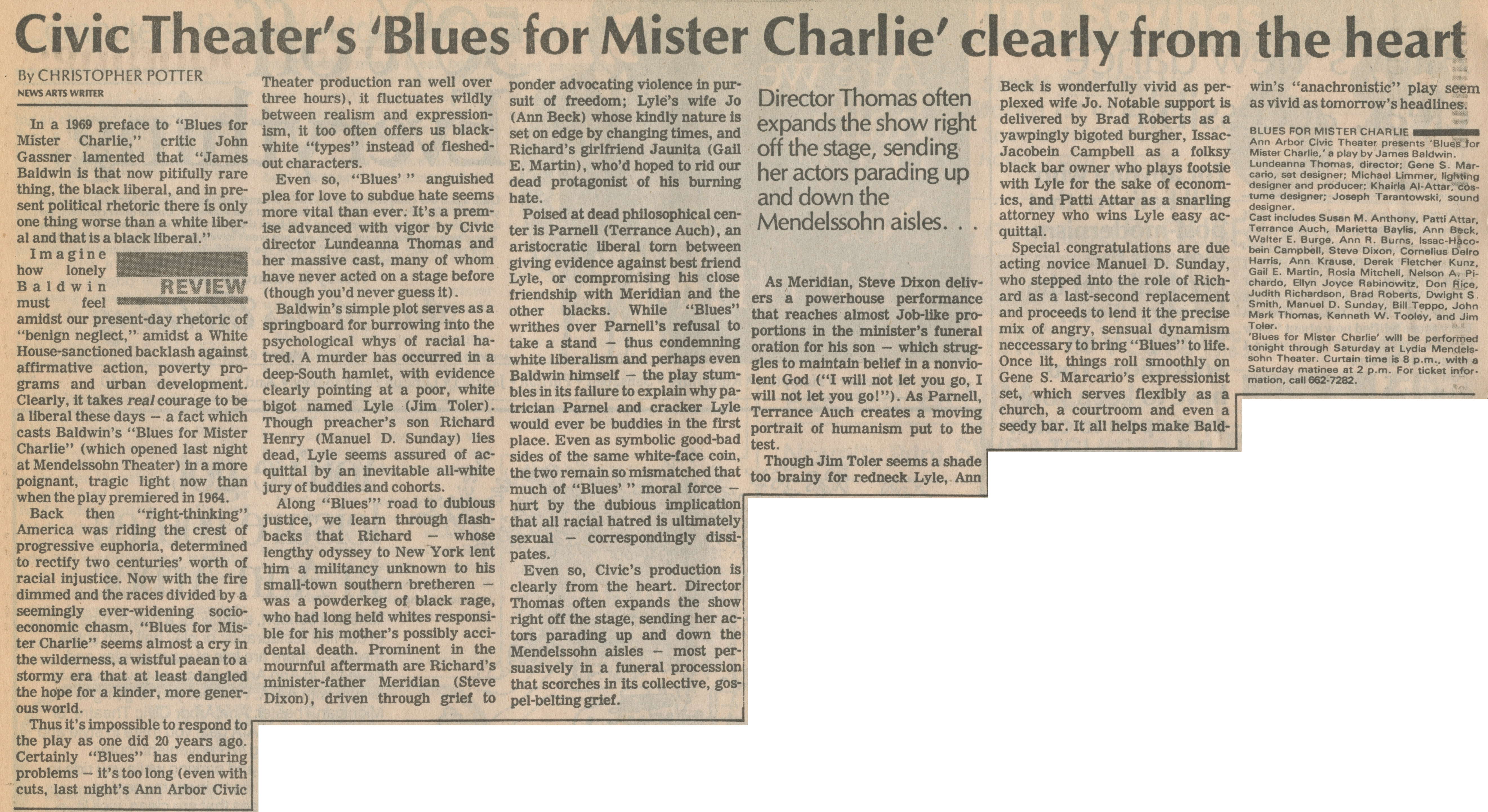 Civic Theater's 'Blues For Mister Charlie' Clearly From The Heart image