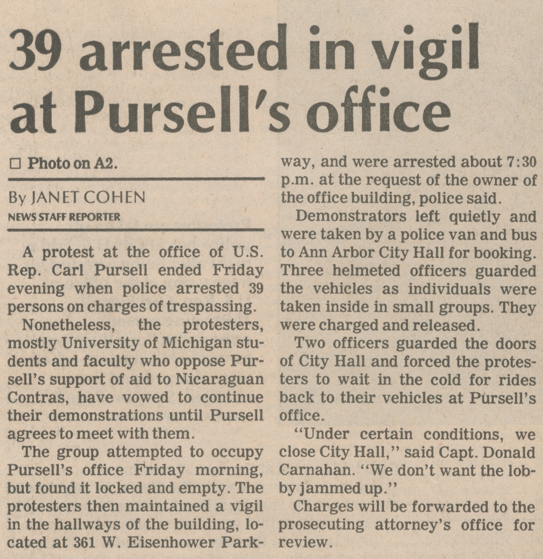 39 Arrested In Vigil At Pursell's Office image