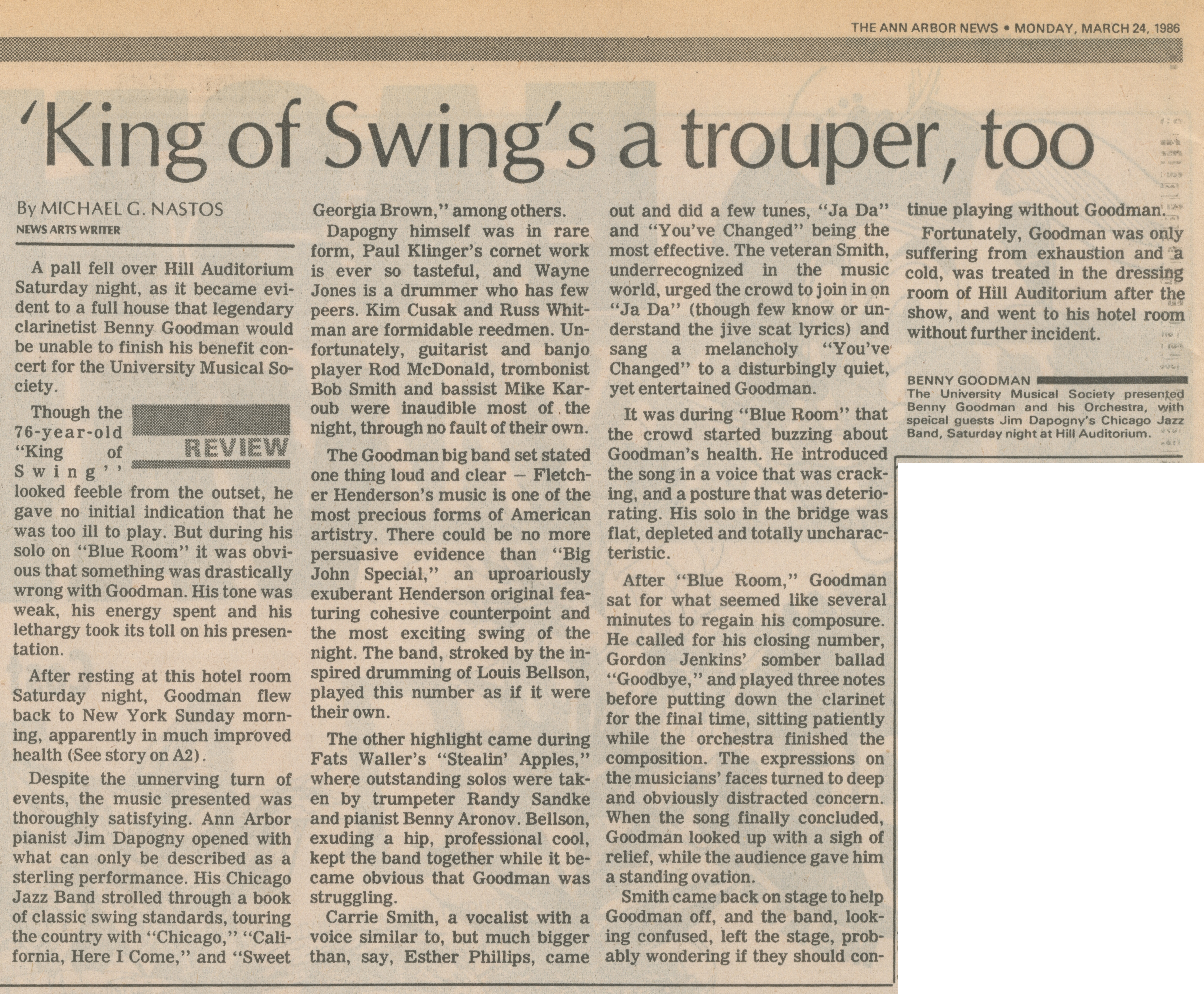 'King of Swing's a trouper, too image