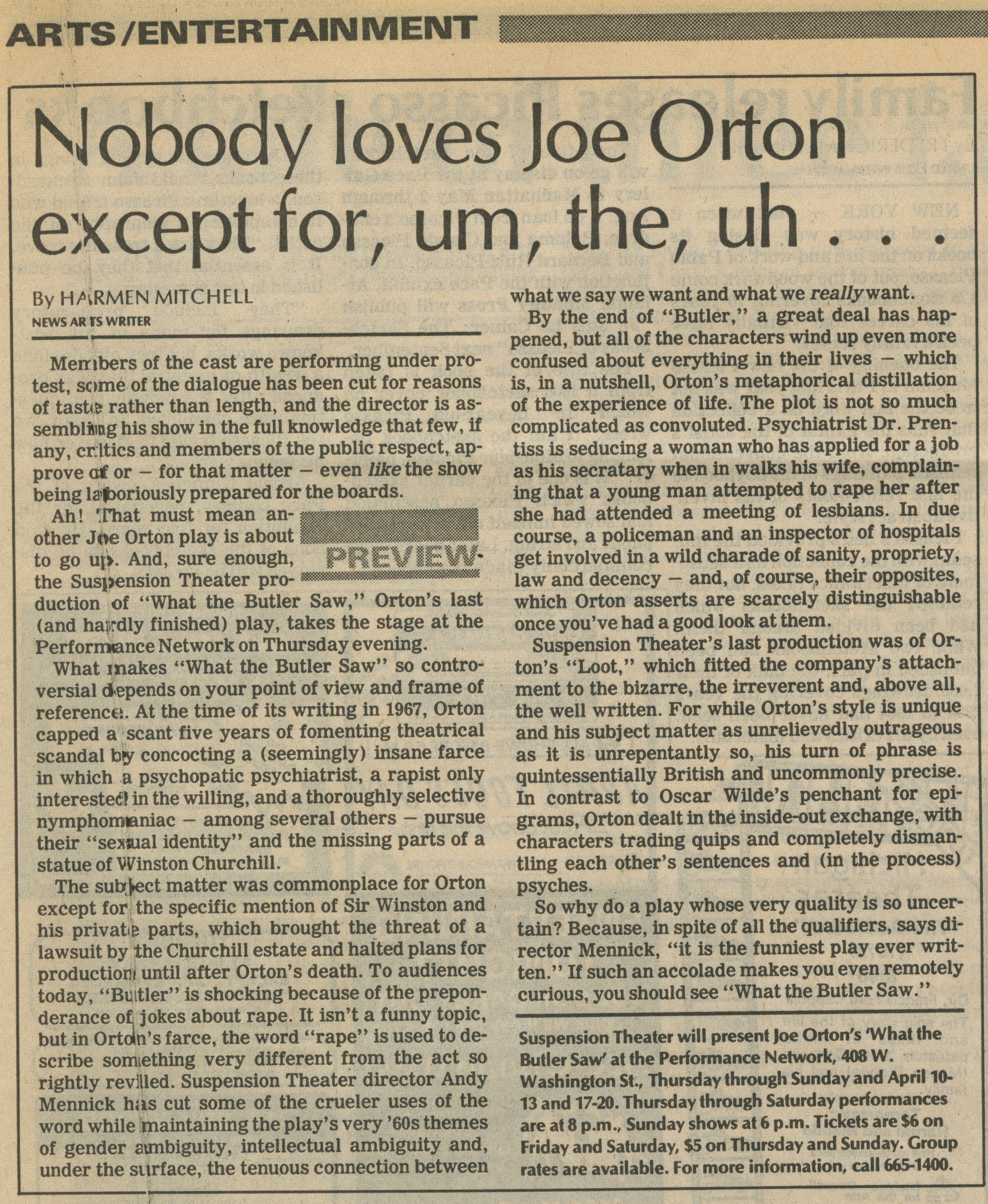 Nobody loves Joe Orton except for, um, the, uh... image