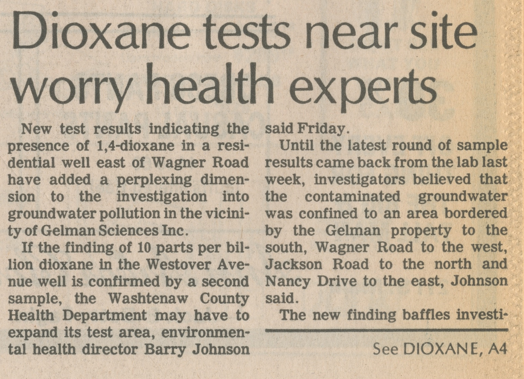 Dioxane Tests Near Site Worry Health Experts image