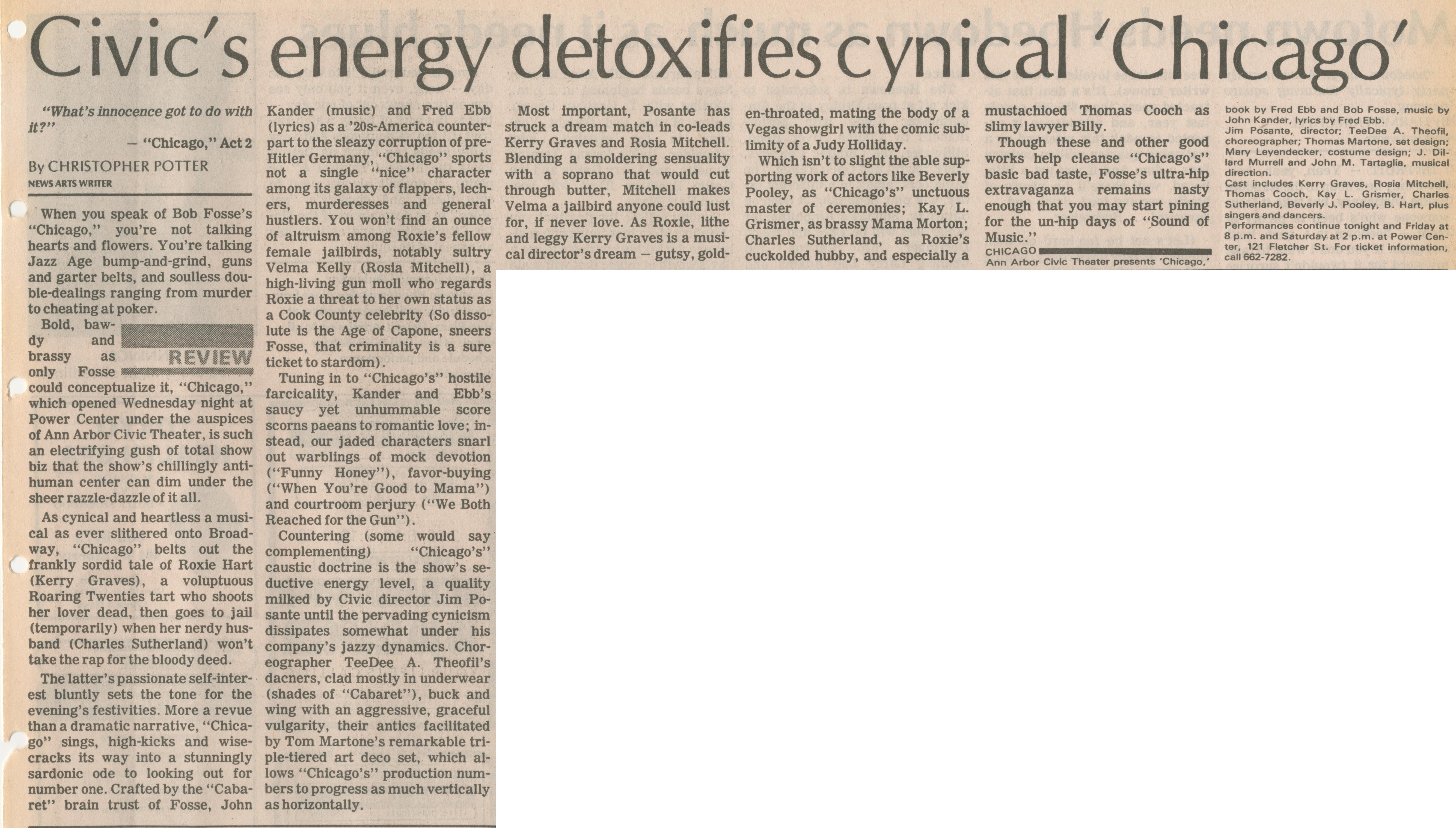Civic's Energy Detoxifies Cynical 'Chicago' image