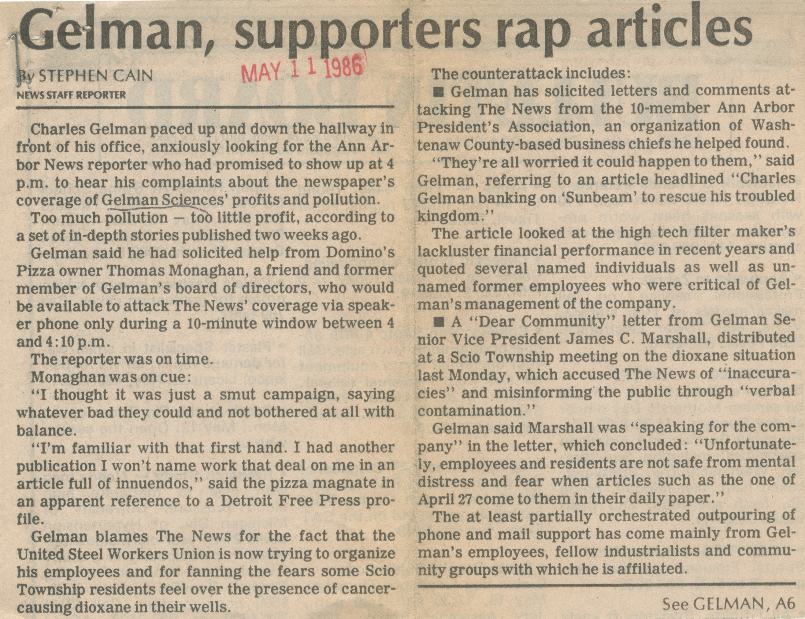 Gelman, Supporters Rap Articles image