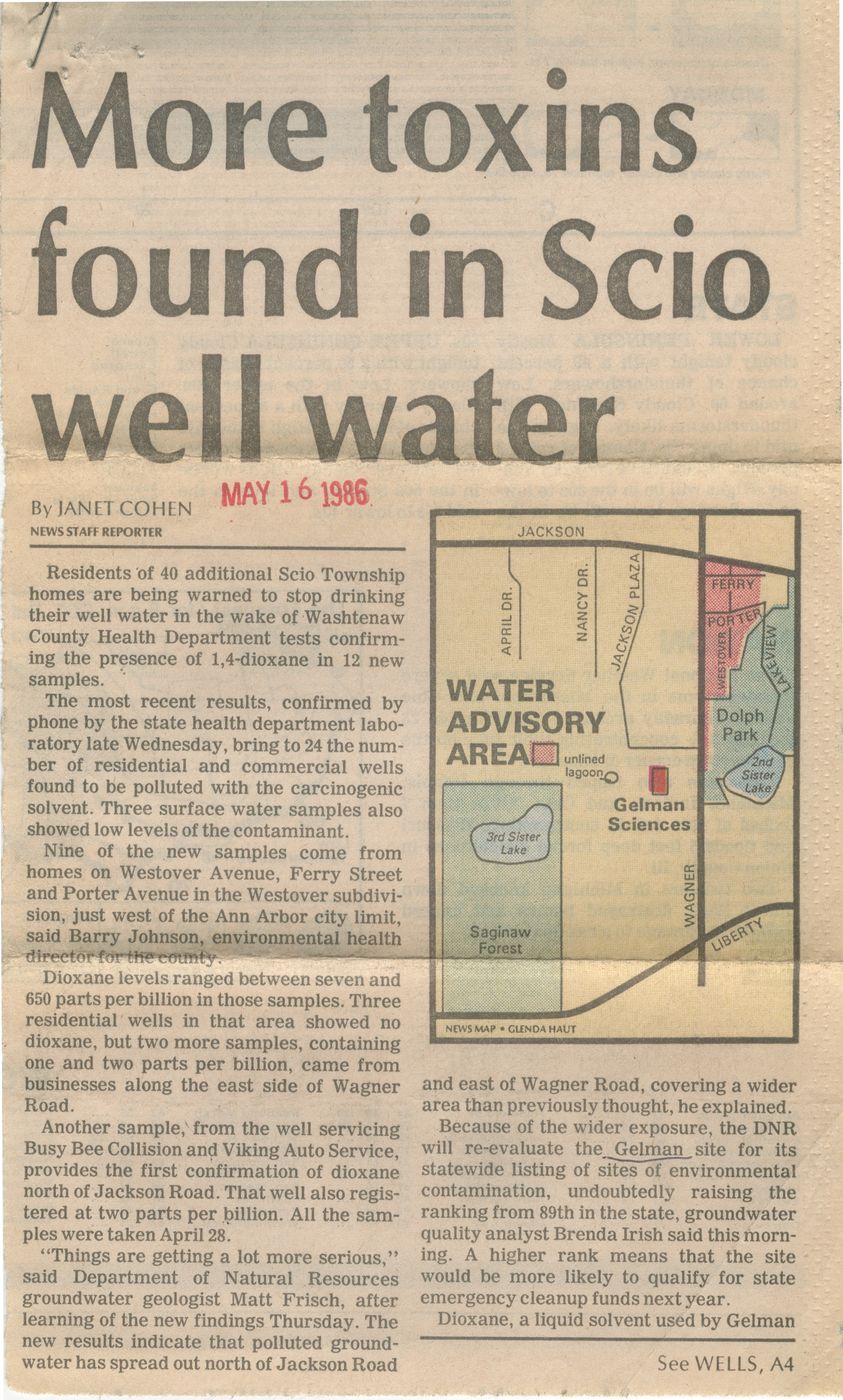 More Toxins Found In Scio Well Water image