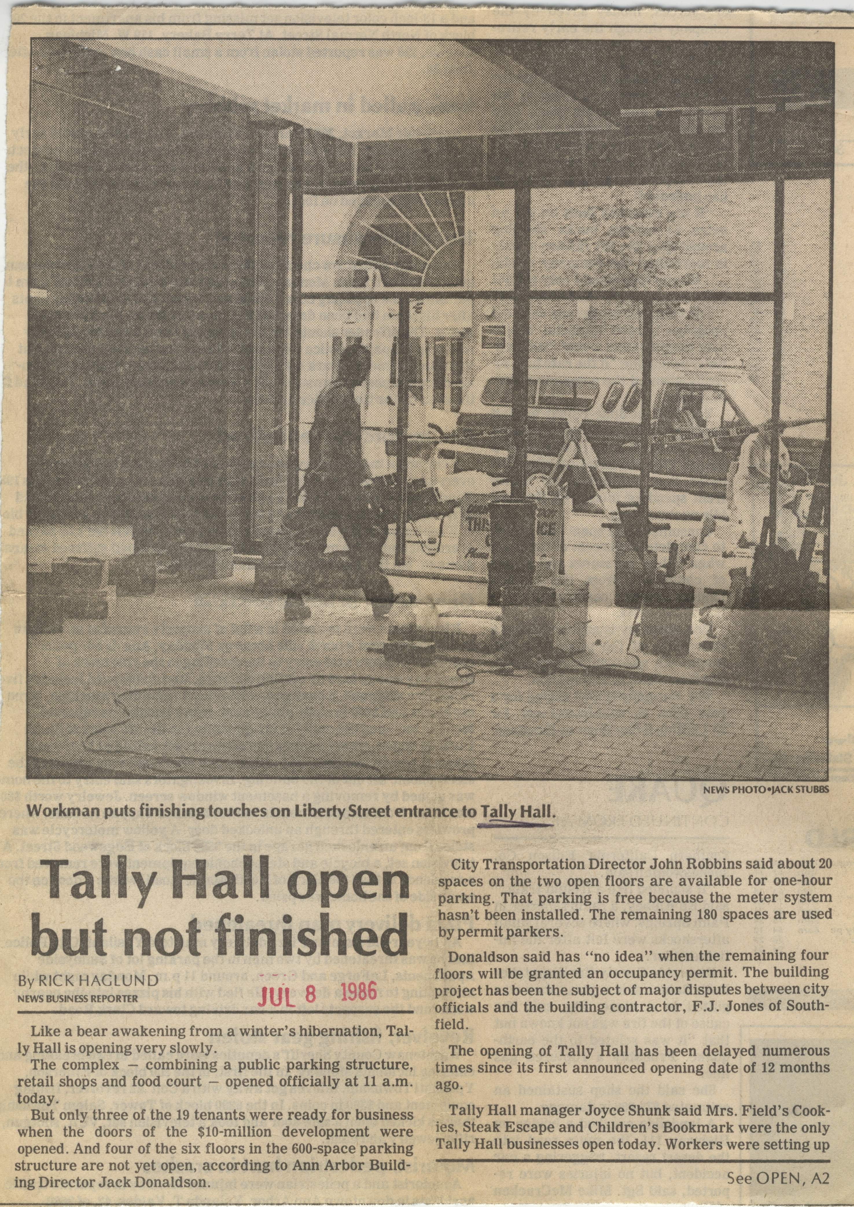Tally Hall Open But Not Finished image