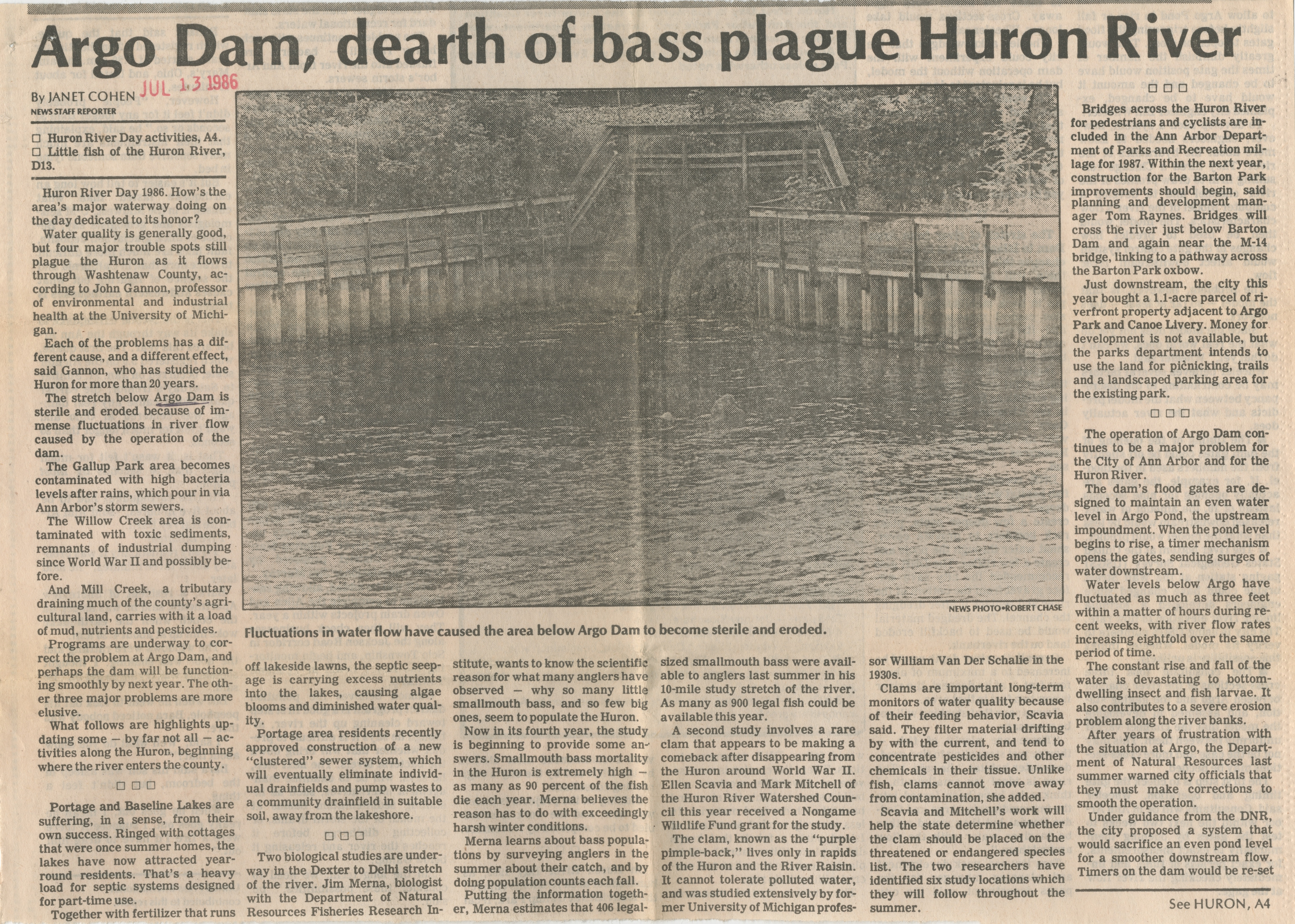 Argo Dam, Dearth of Bass Plague Huron River image
