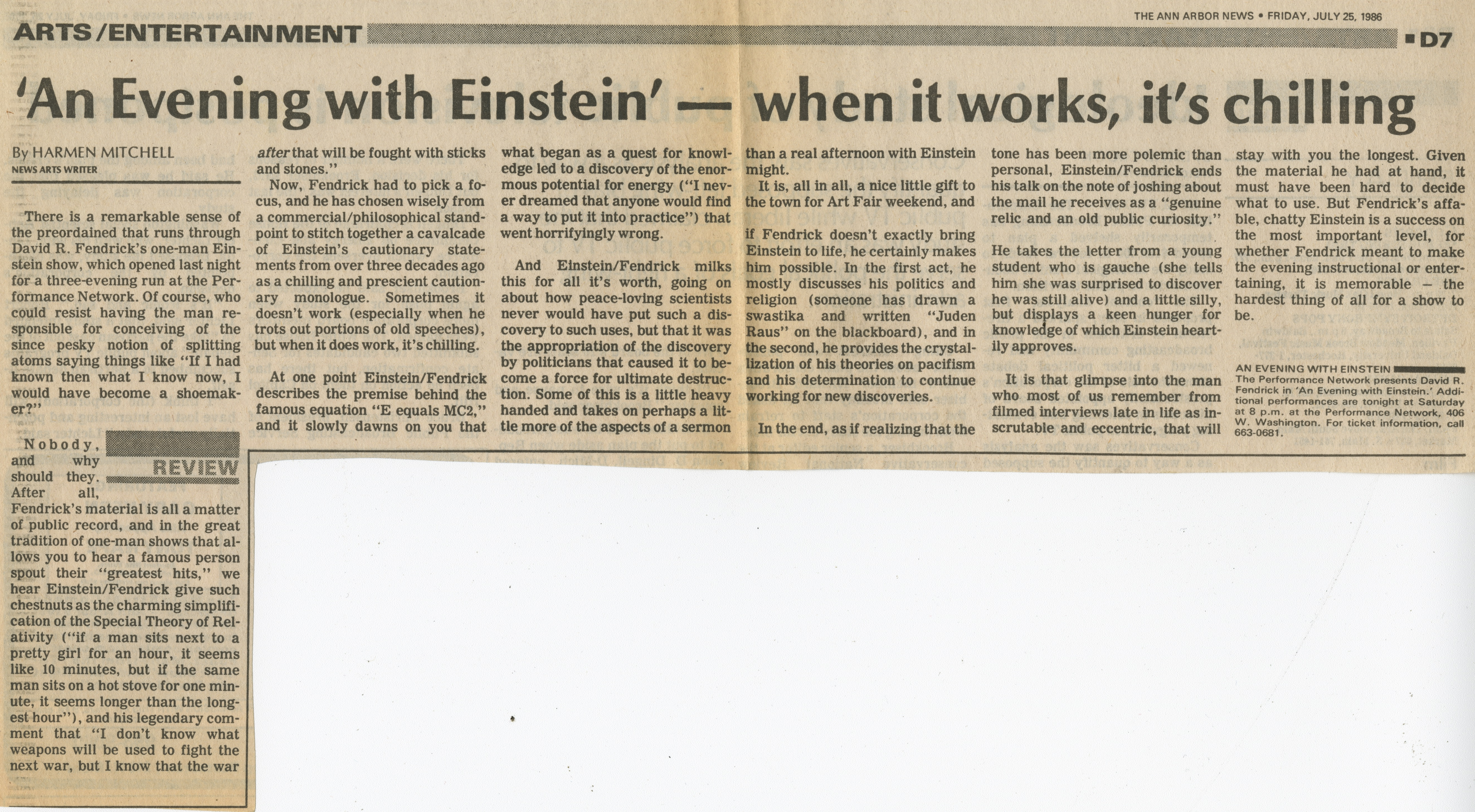 'An Evening with Einstein' - when it works, it's chilling image