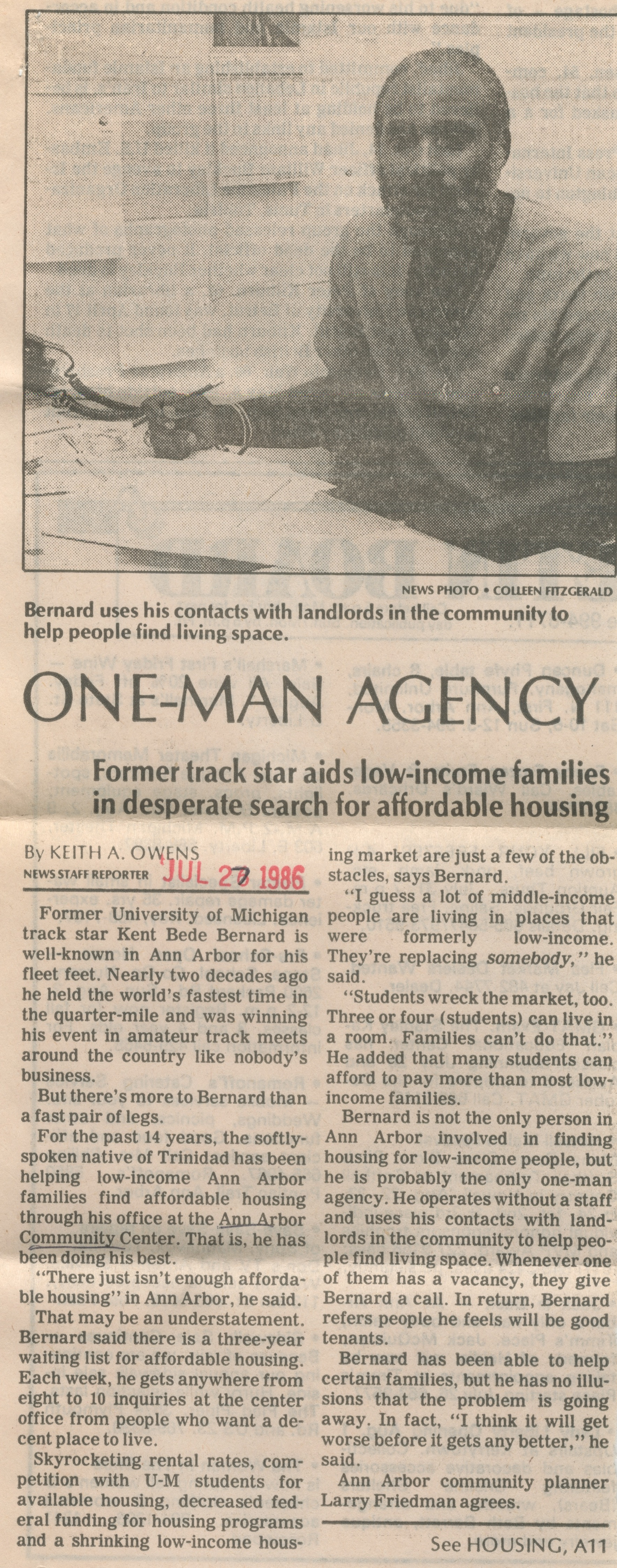 One-Man Agency - Former Track Star Aids Low-Income Families In Desperate Search For Affordable Housing image