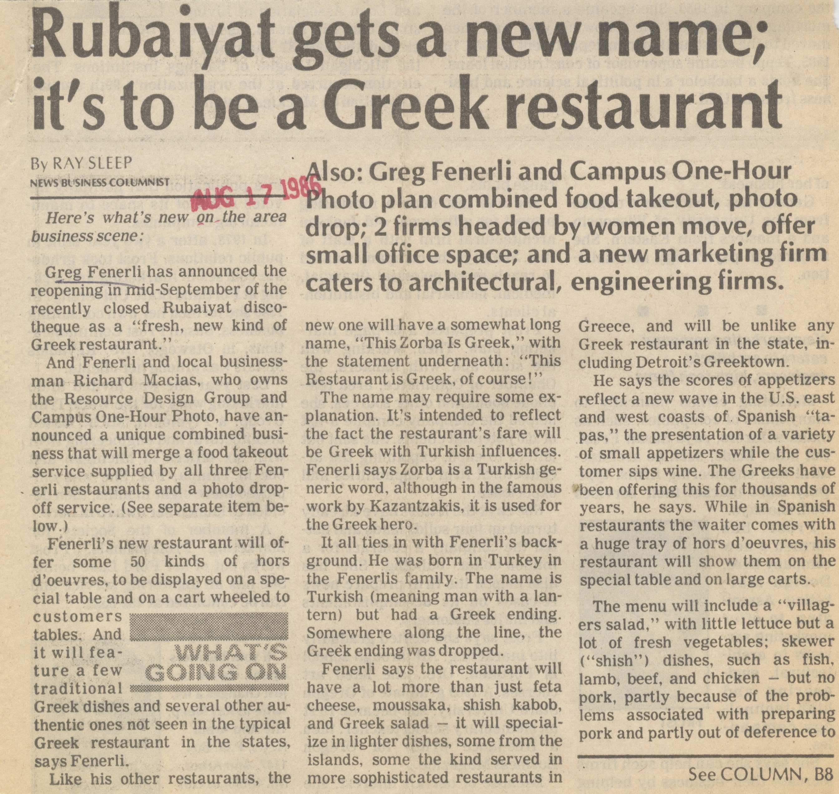 Rubaiyat Gets A New Name; It's To Be A Greek Restaurant image