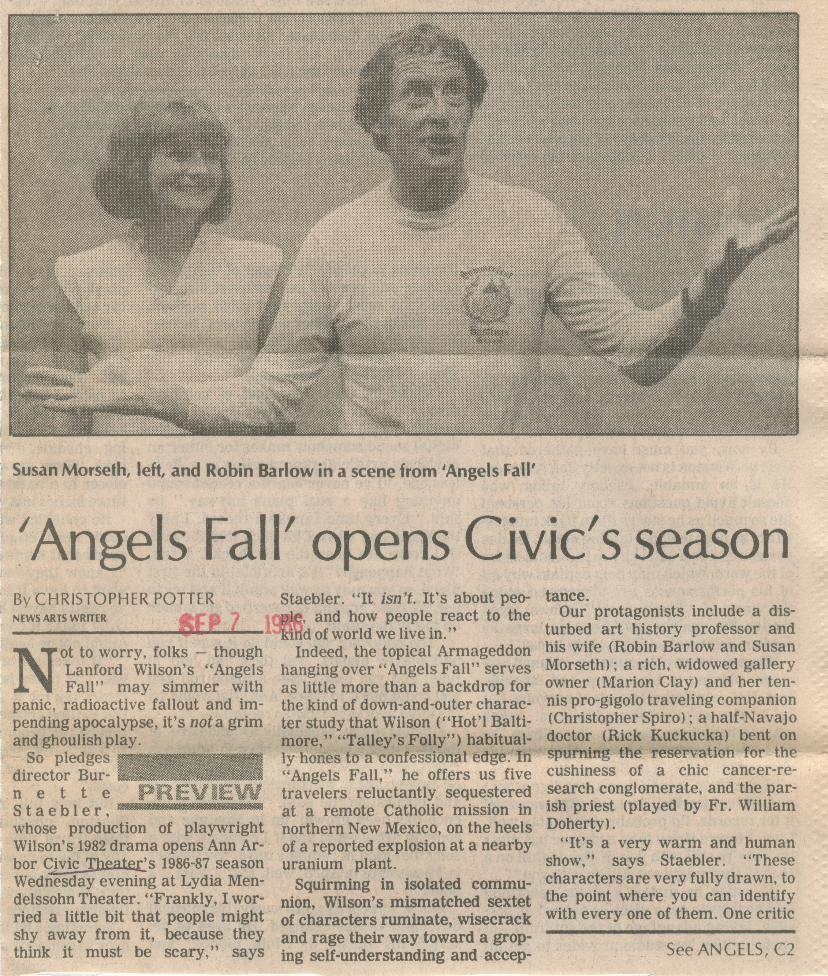 'Angels Fall' Opens Civic's Season image