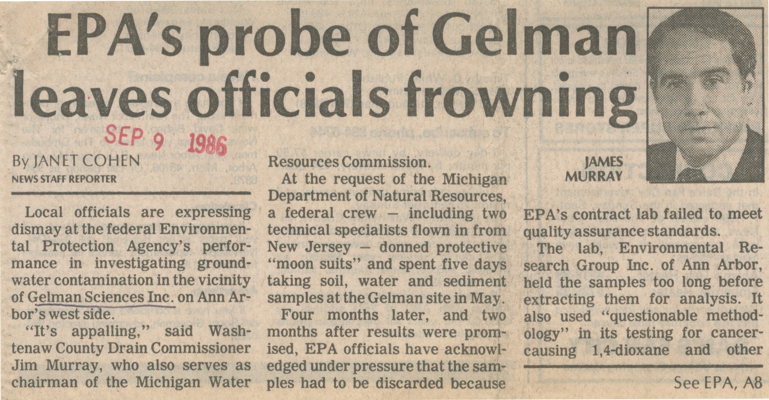 EPA Probe Of Gelman Leaves Officials Frowning image