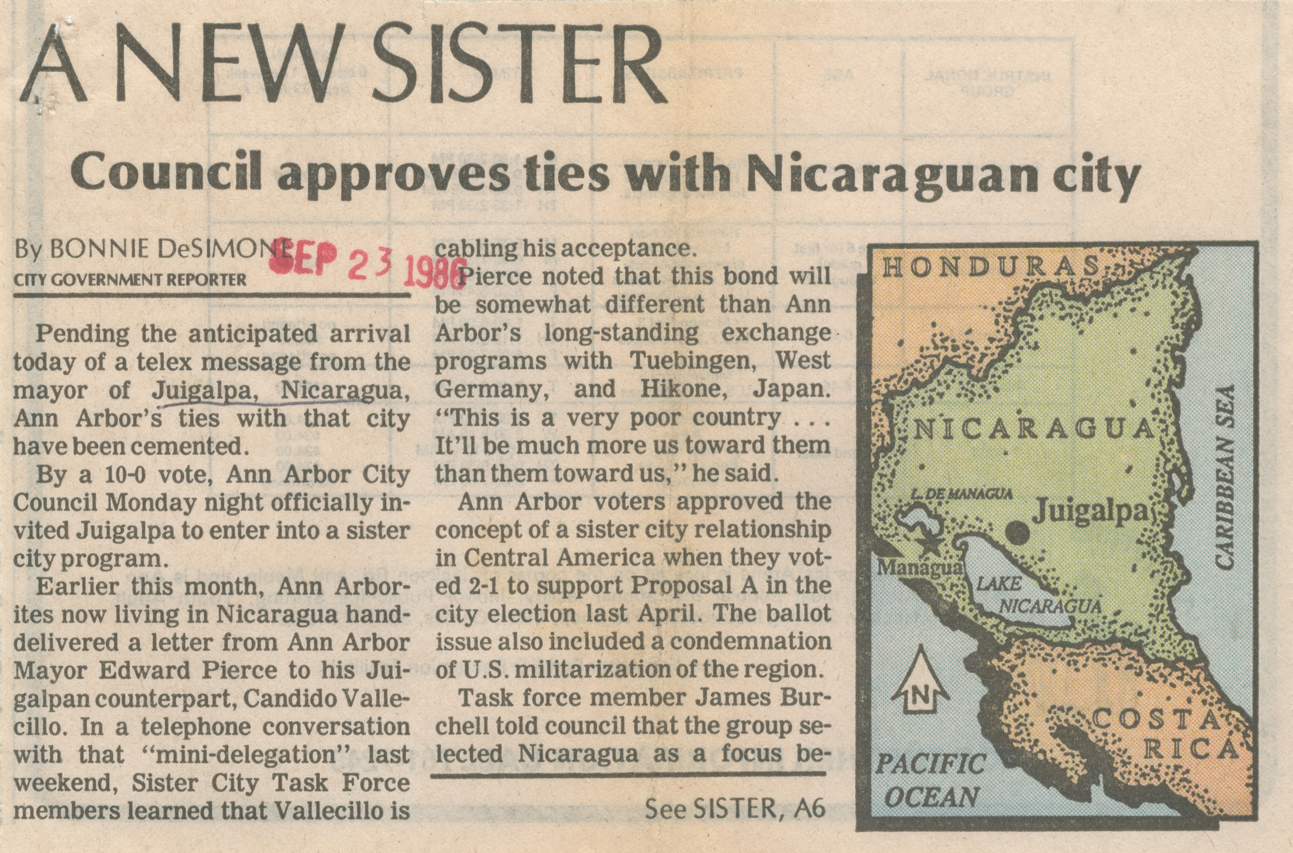 A New Sister - Council Approves Ties With Nicaraguan City image