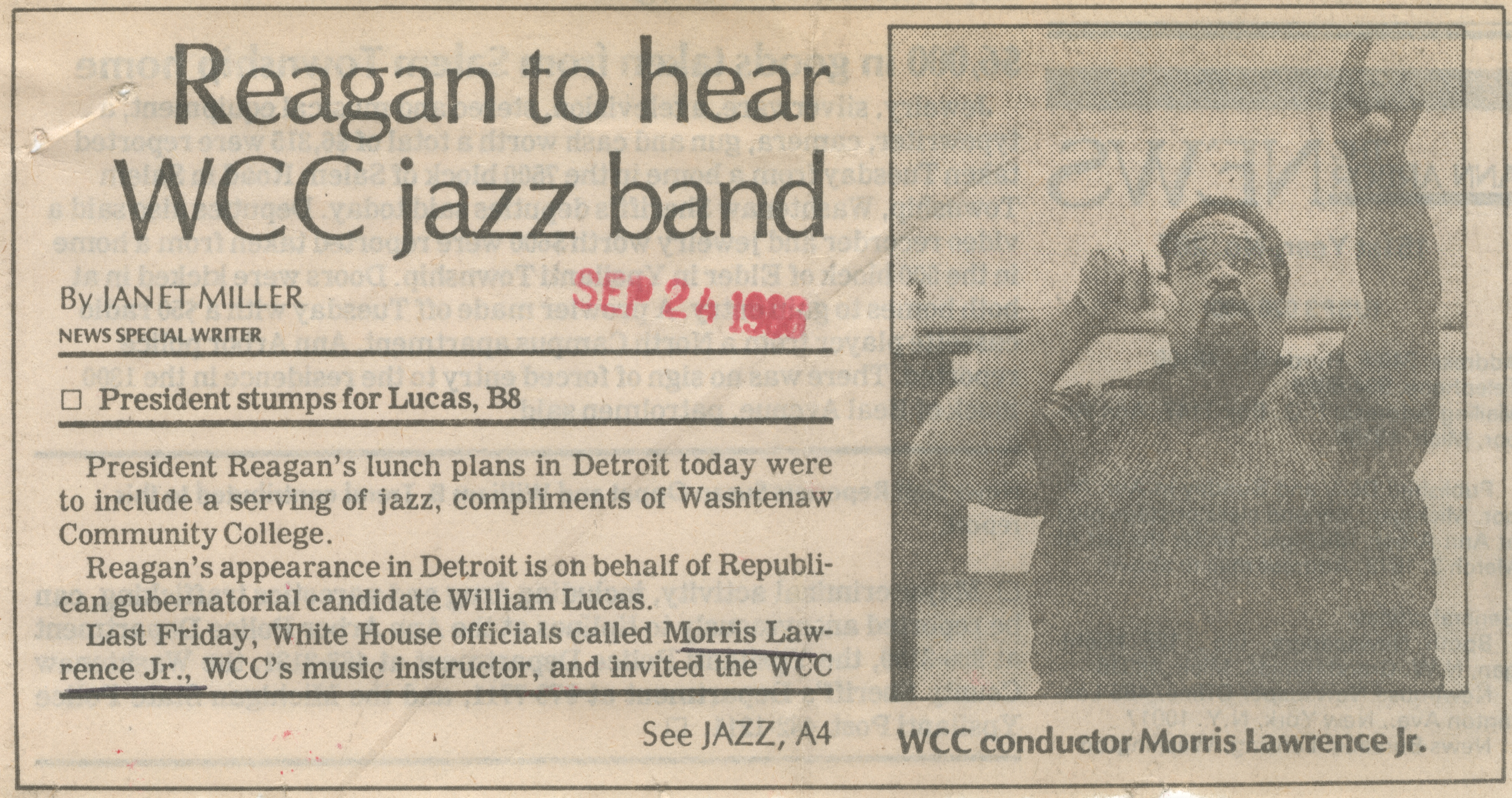 Reagan to hear WCC jazz band image