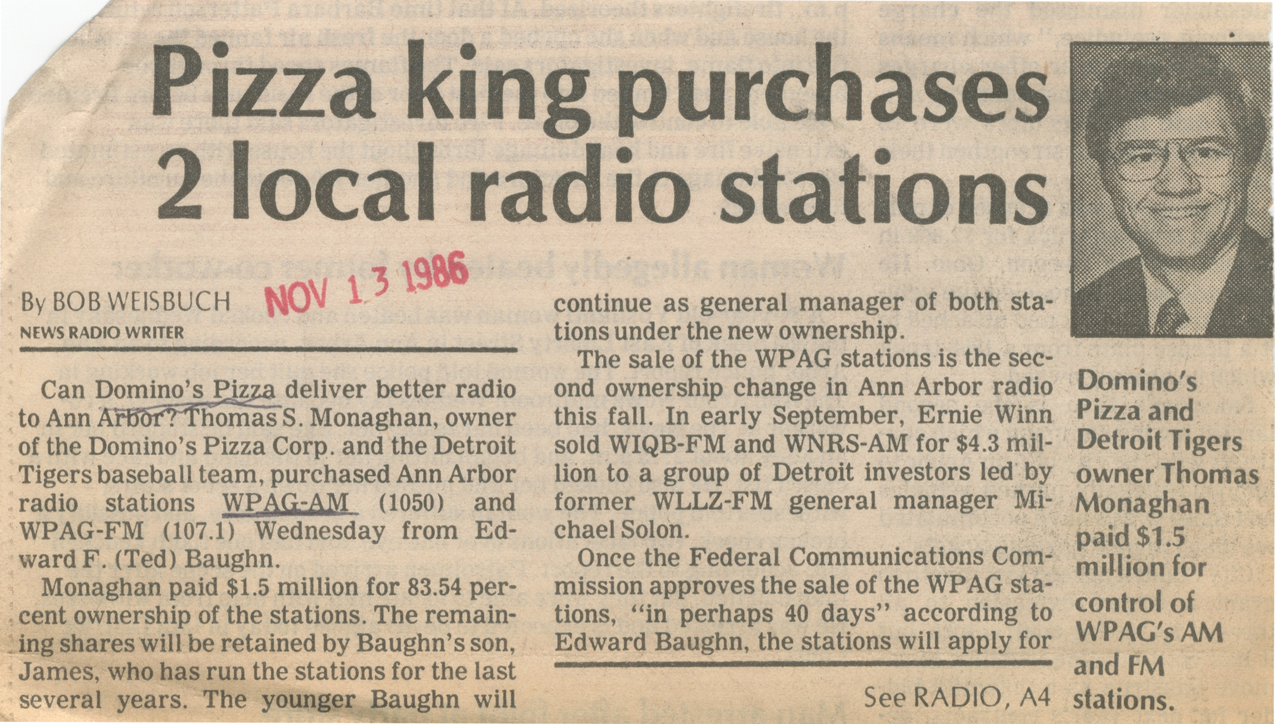 Pizza King Purchases 2 Local Radio Stations image