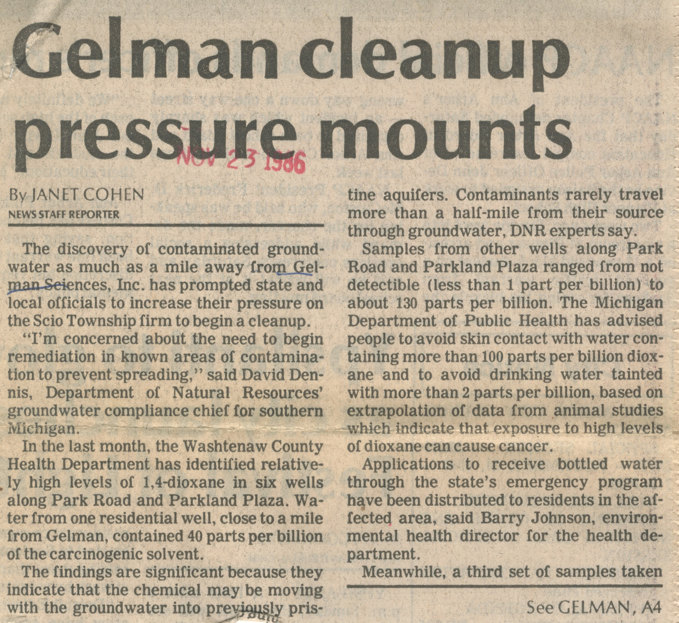 Gelman Cleanup Pressure Mounts image