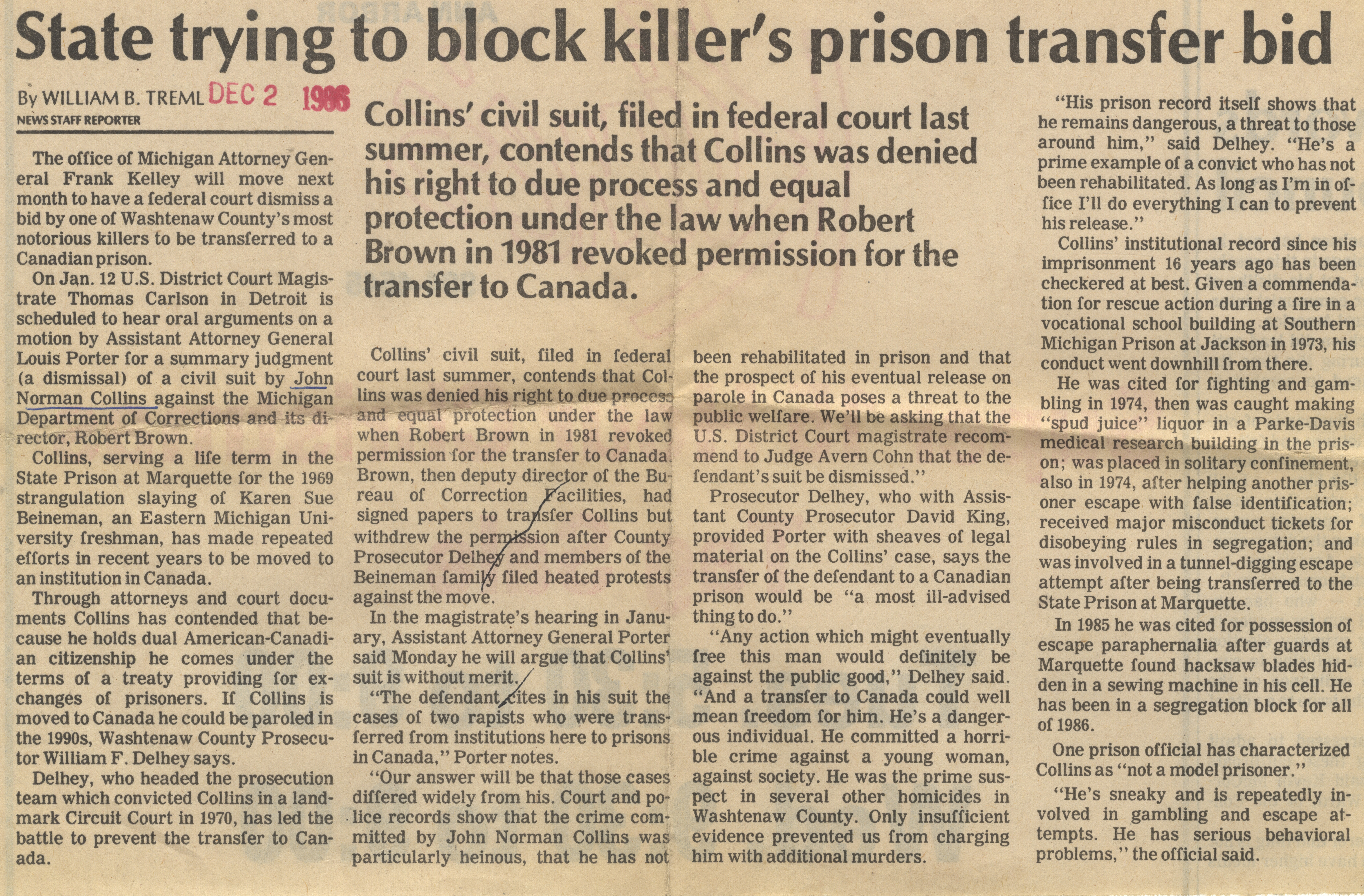 State trying to block killer's prison tranfer bid image