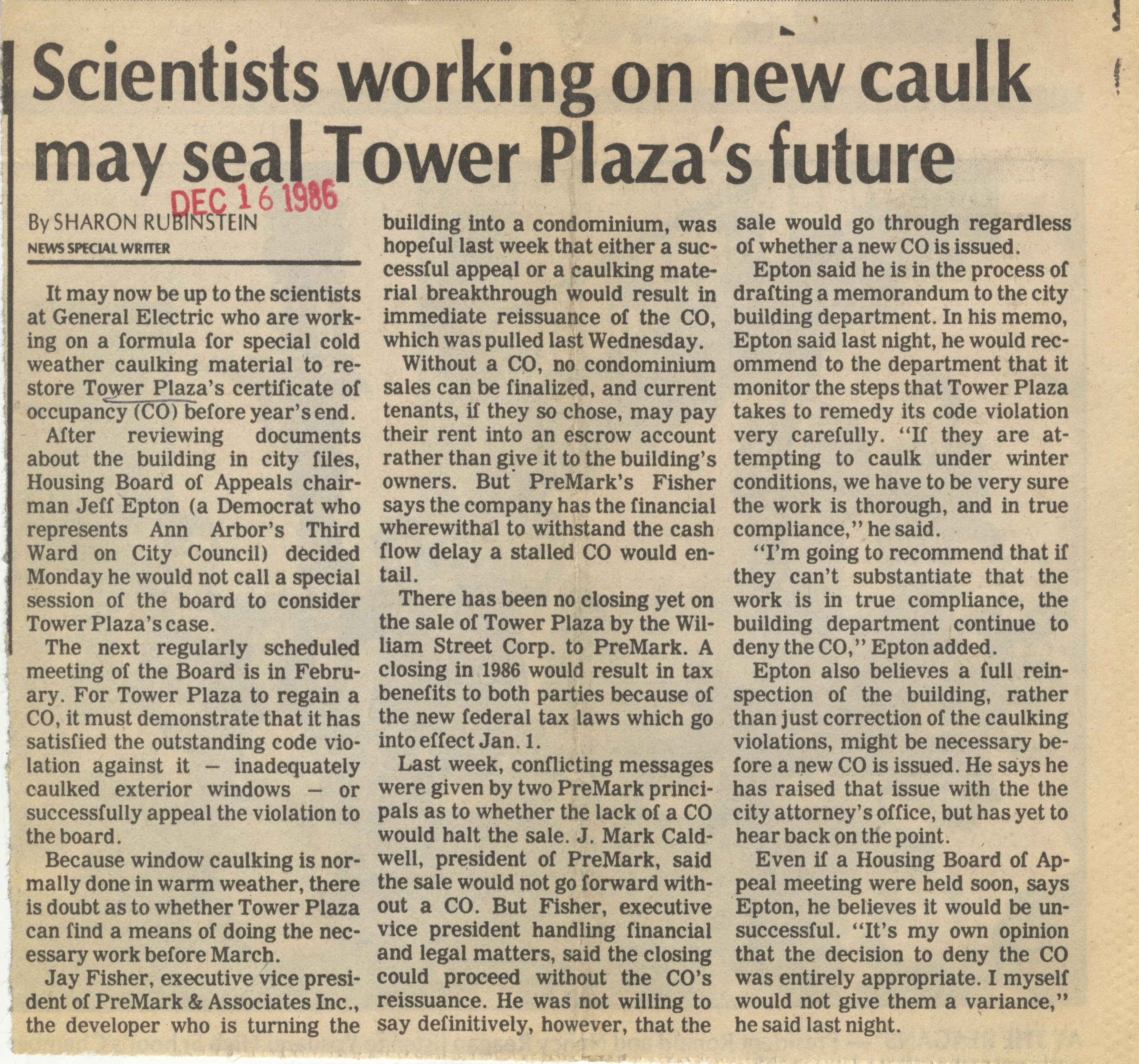 Scientists Working On New Caulk May Seal Tower Plaza's Future image