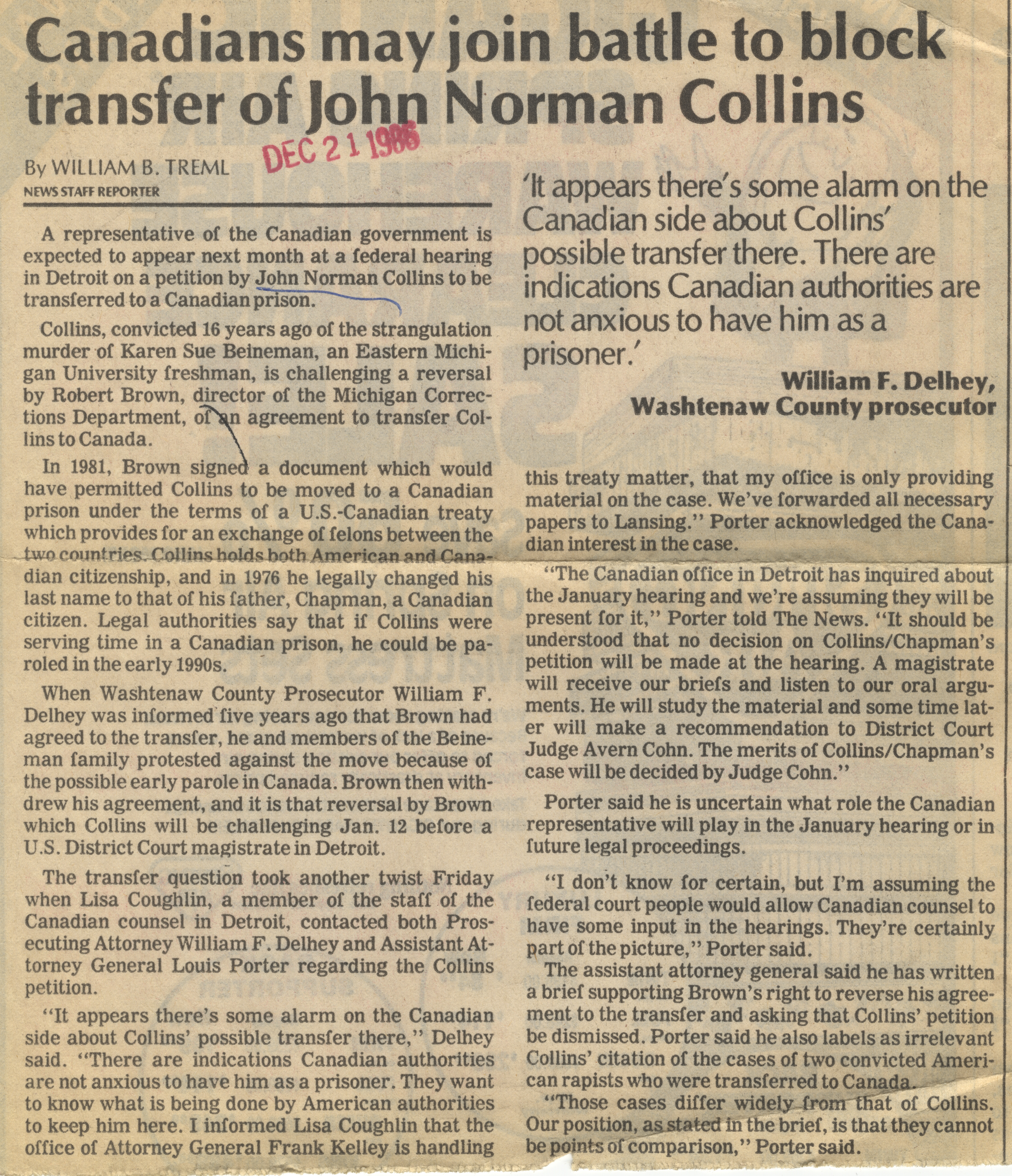 Canadians may join battle to block transfer of John Norman Collins image
