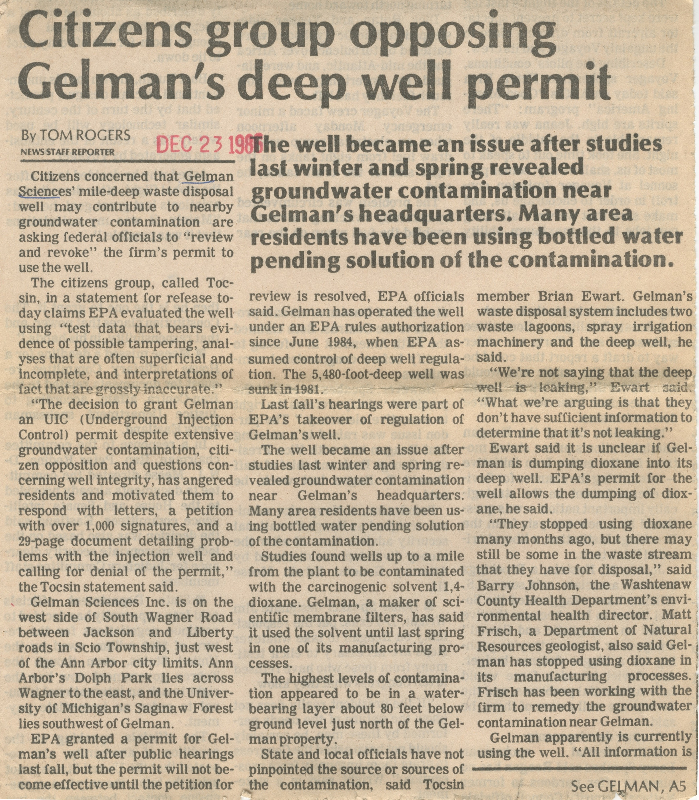 Citizens Group Opposing Gelman's Deep Well Permit image
