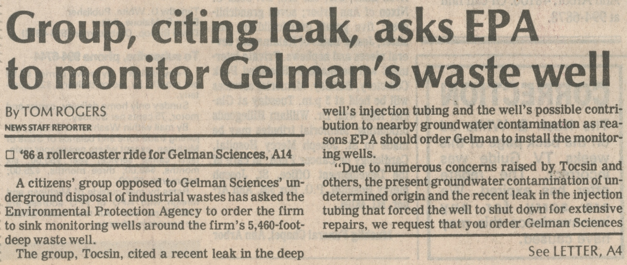 Group, Citing Leak, Asks EPA To Monitor Gelman's Waste Well image