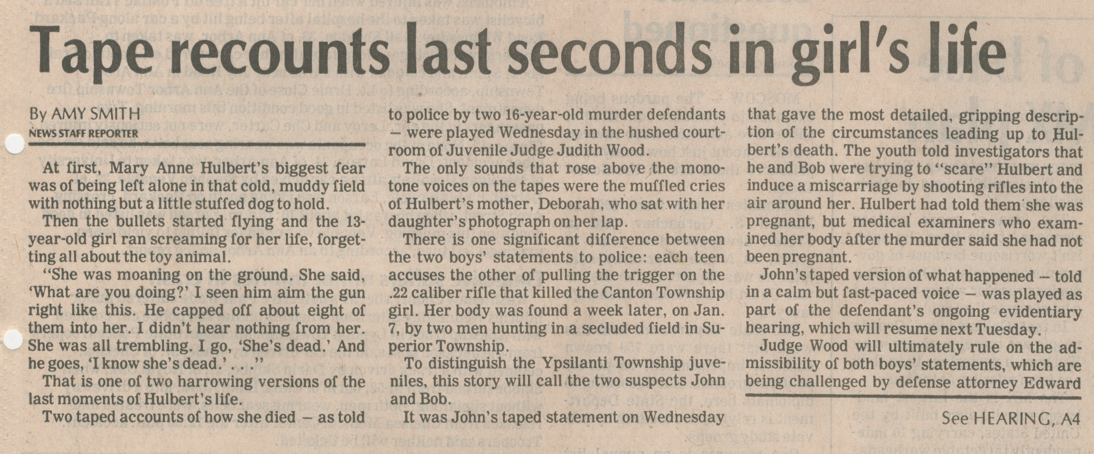 Tape Recounts Last Seconds In Girl's Life image