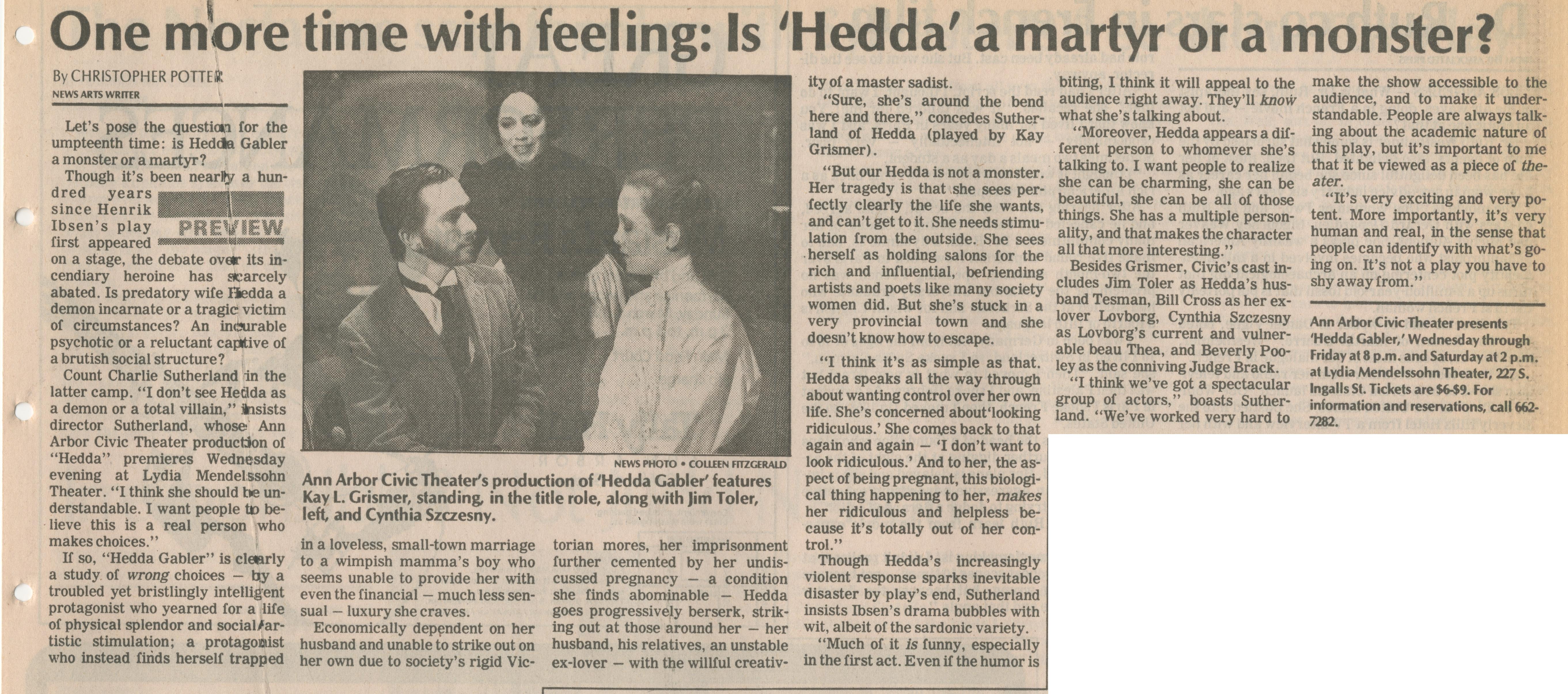 hedda gabler response questions