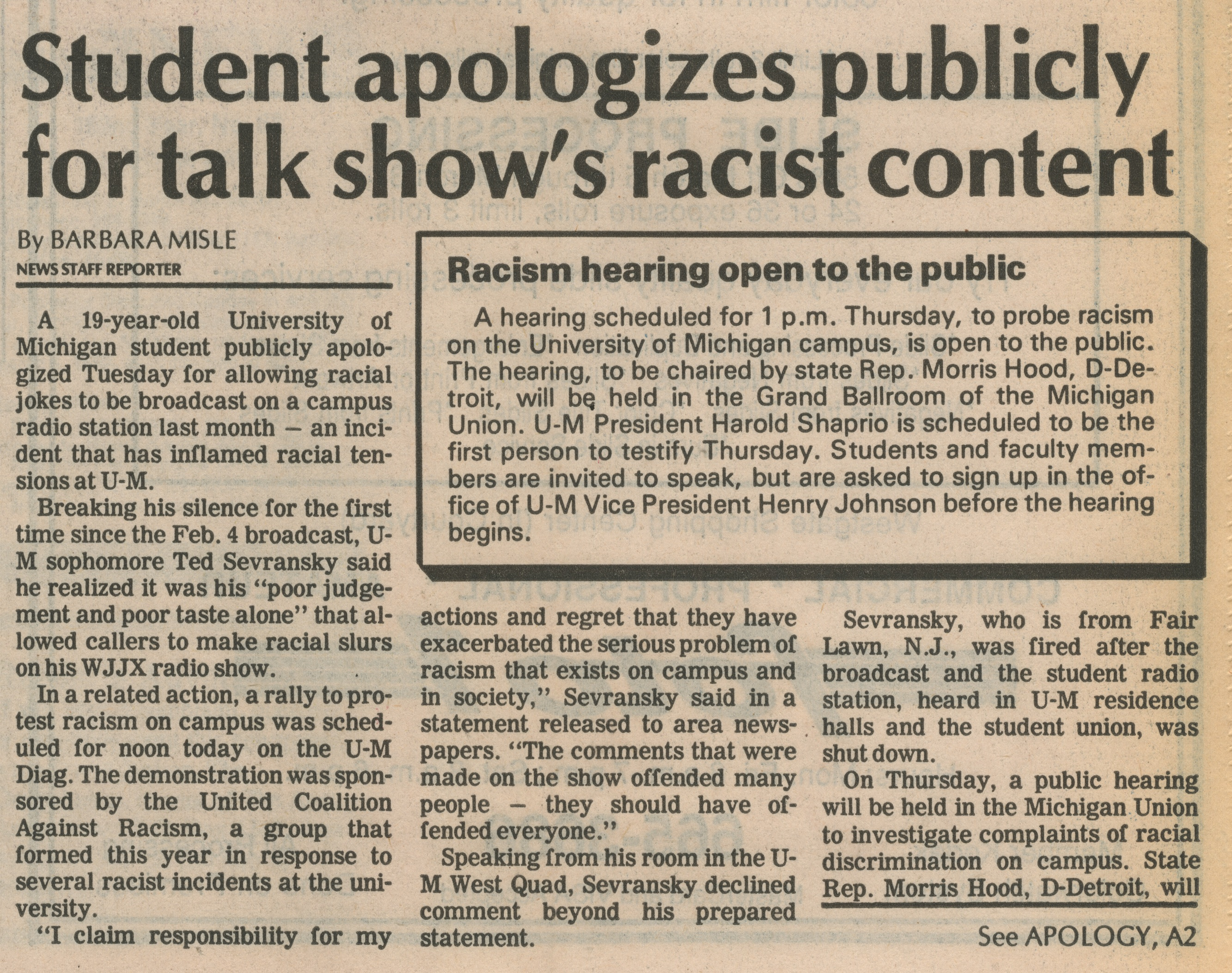 Student Apologizes Publicly For Talk Show's Racist Content image