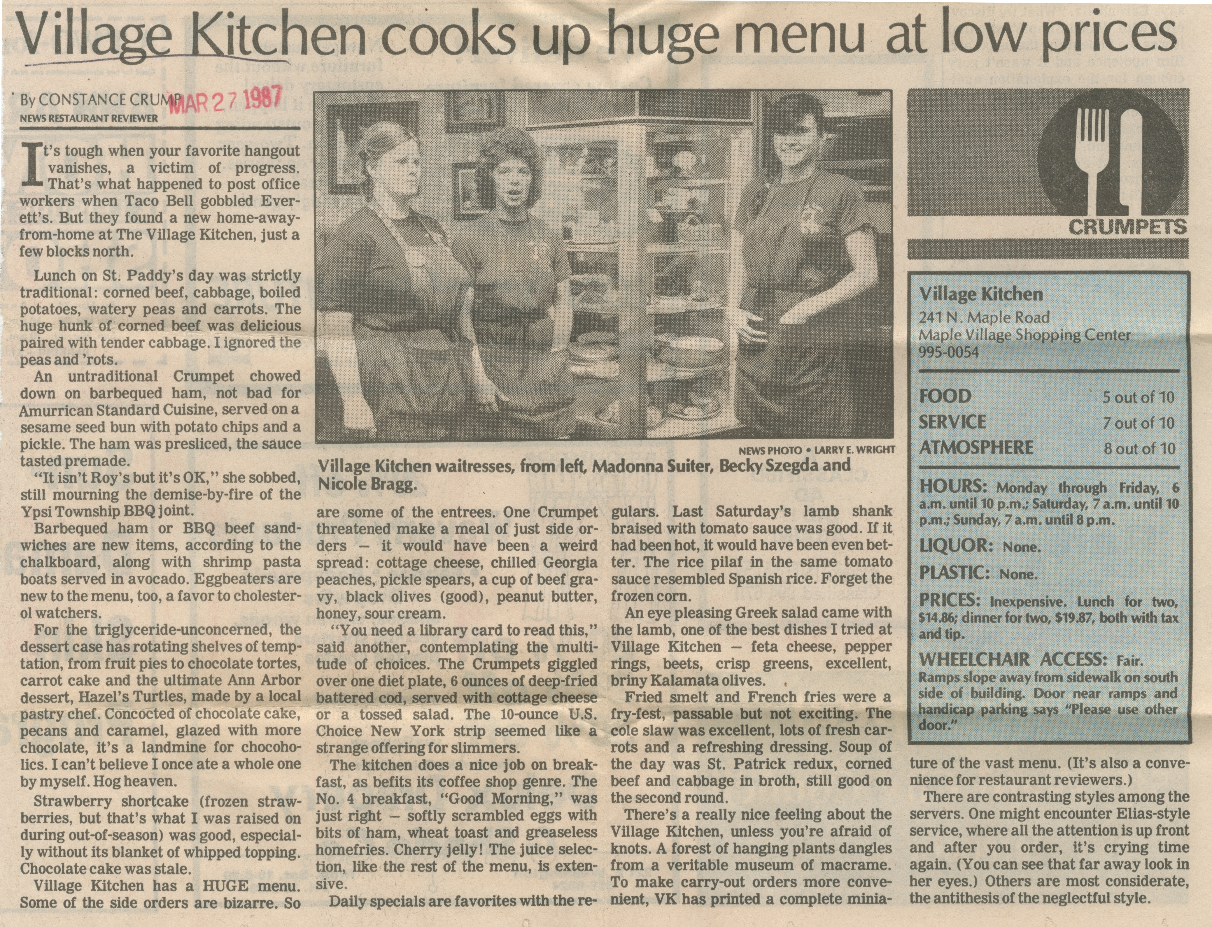 Village Kitchen Cooks Up Huge Menu At Low Prices Ann Arbor
