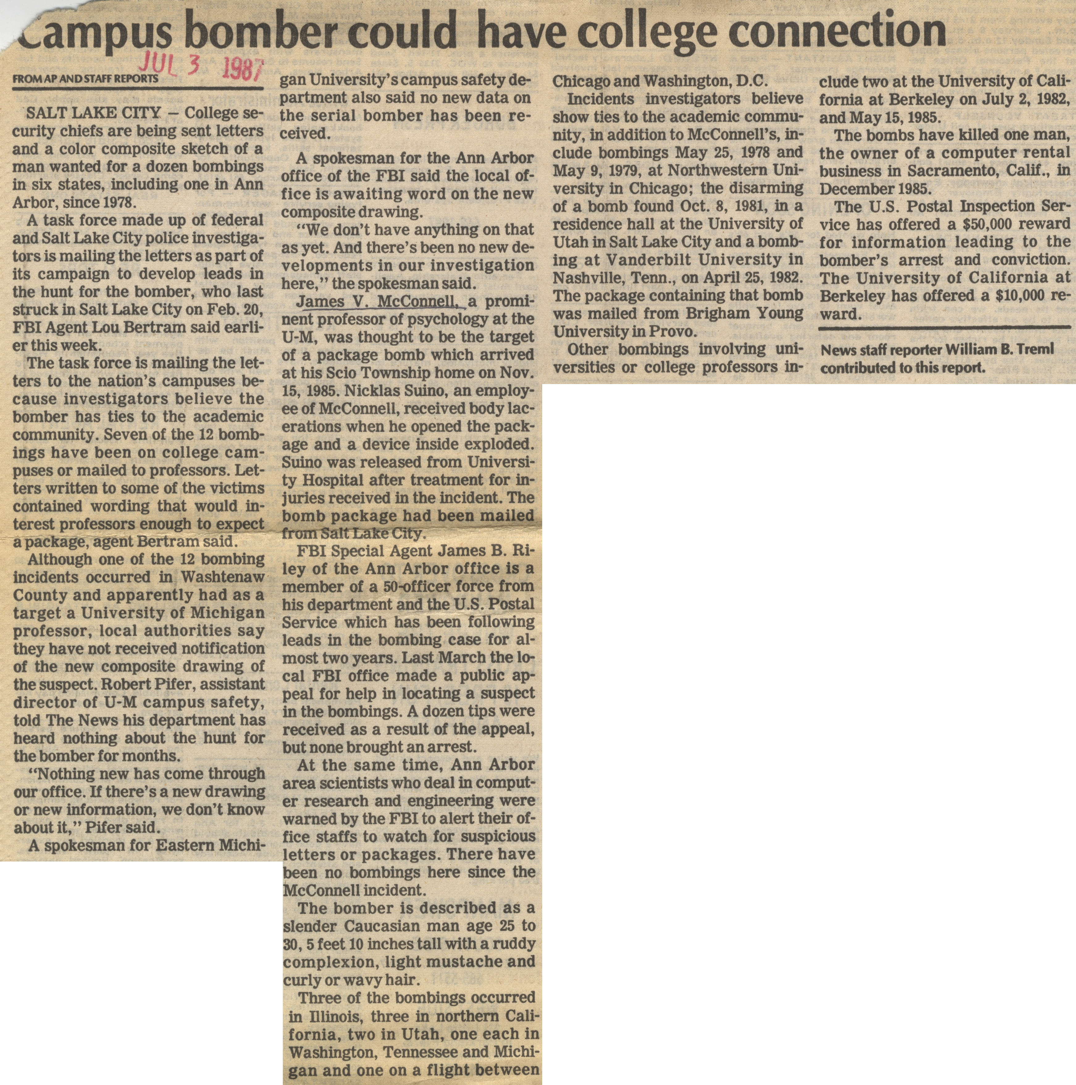Campus Bomber Could Have College Connection image