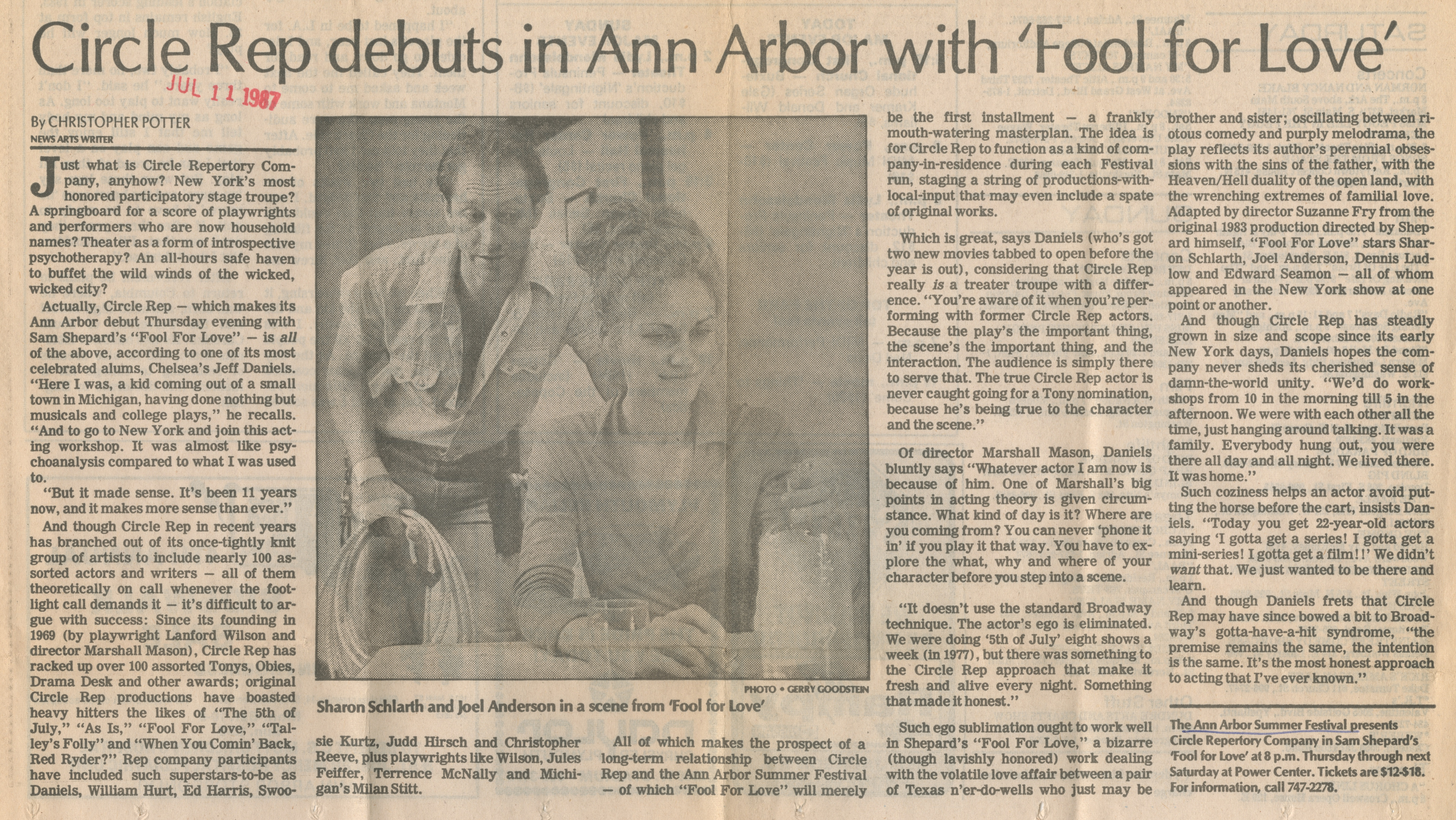 Circle Rep debuts in Ann Arbor with 'Fool for Love' image