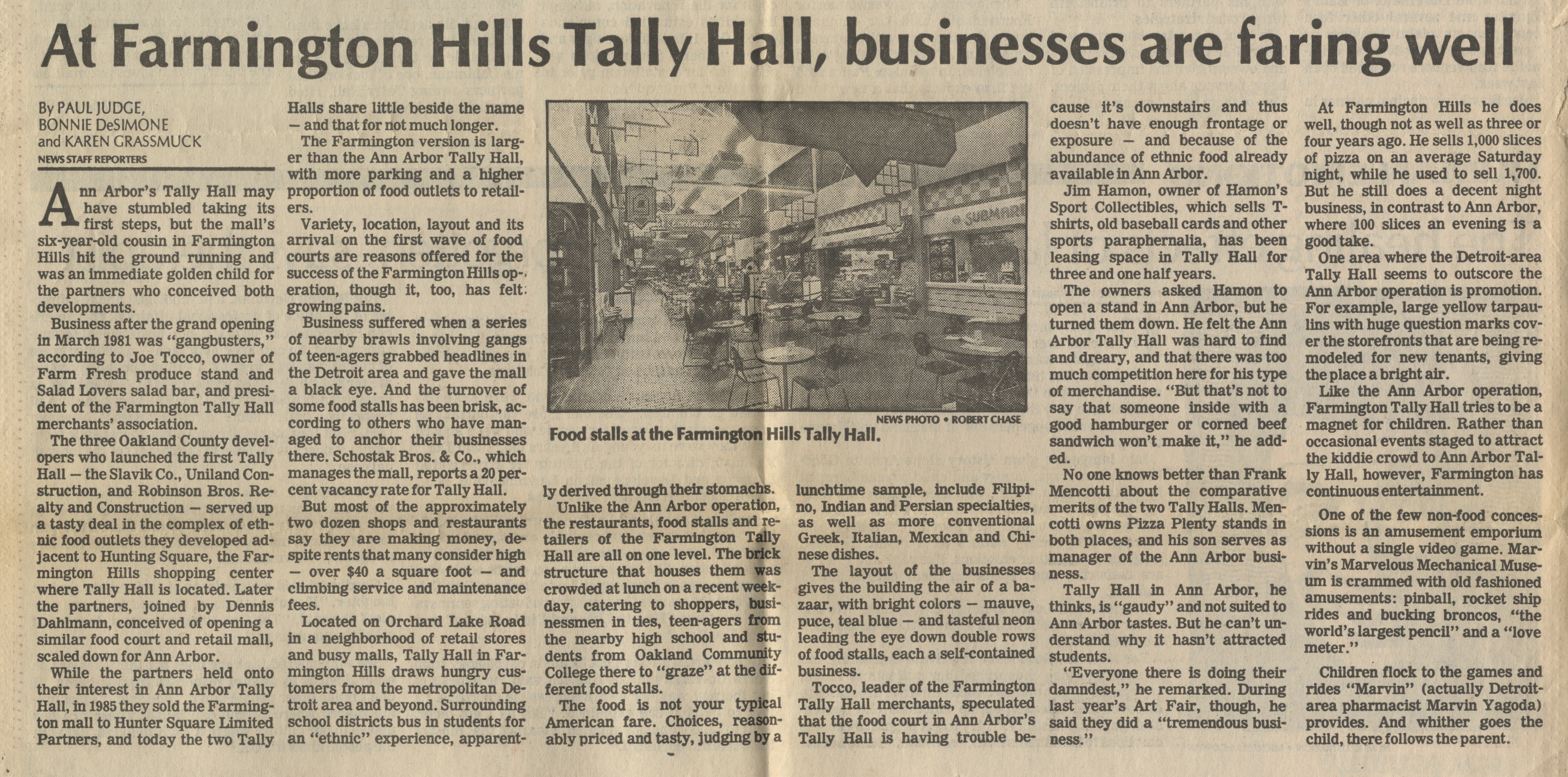 At Farmington Hills Tally Hall, Businesses Are Faring Well image